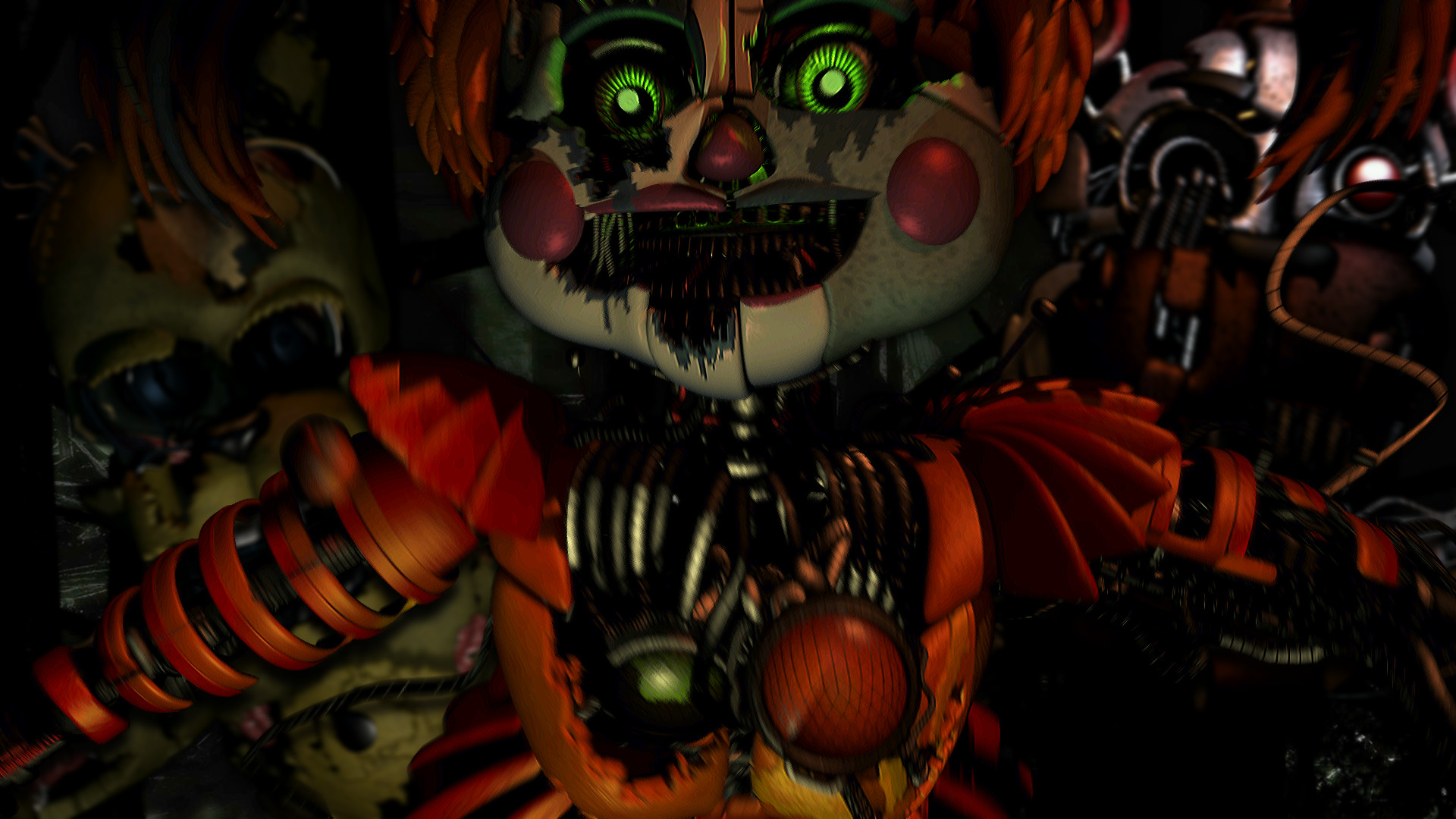 Res: 1920x1080, Made a simple FNaF 6 wallpaper from the animatronics' jumpscare frames ...
