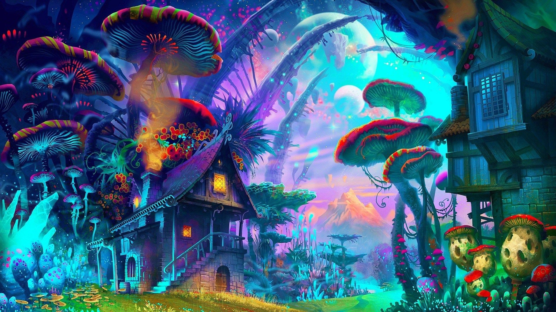 Res: 1920x1080, dope trippy background visuals illustration shrooms psychadelics