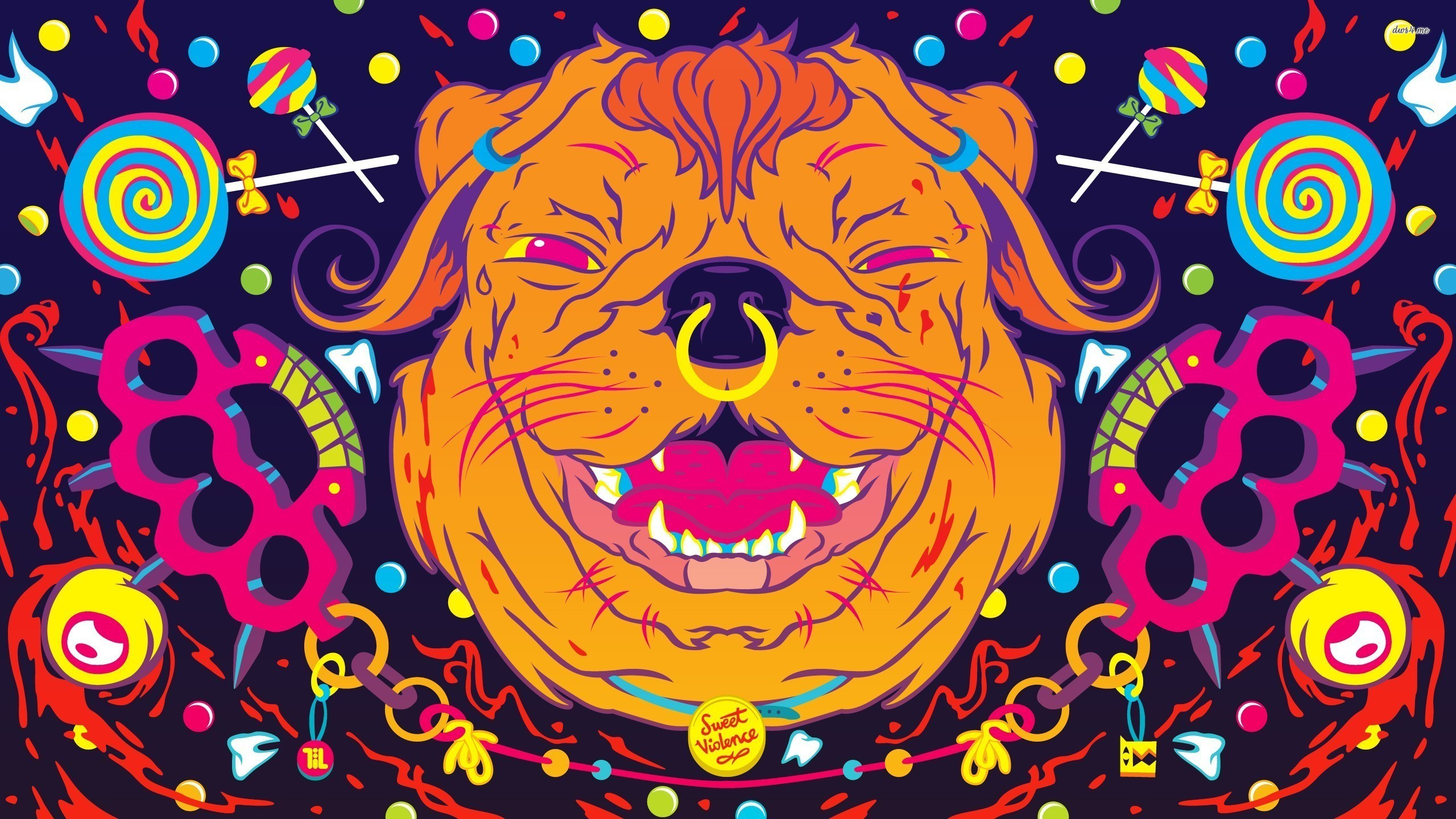 Res: 2560x1440, ... Psychedelic dog wallpaper  ...
