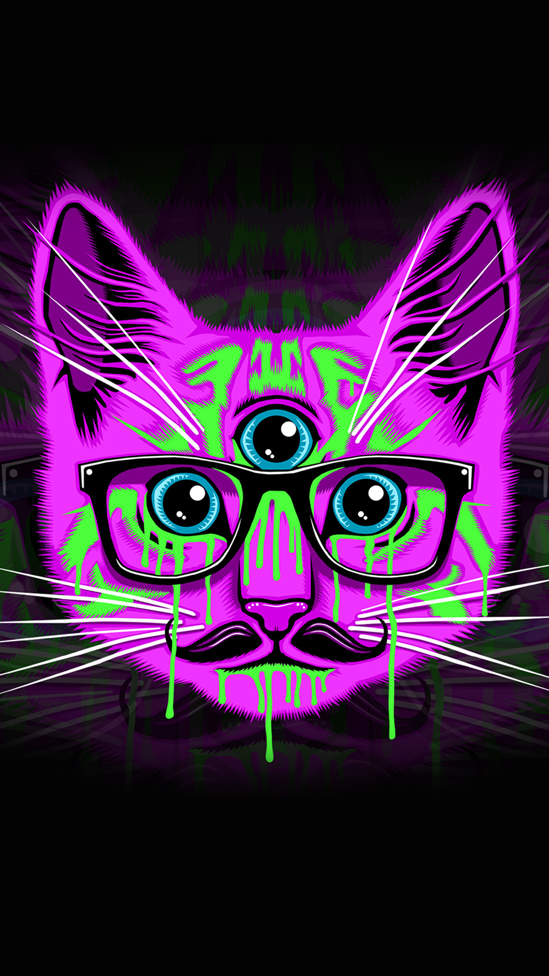 Res: 1080x1920, Download · Psychedelic Kitty Phone Wallpaper