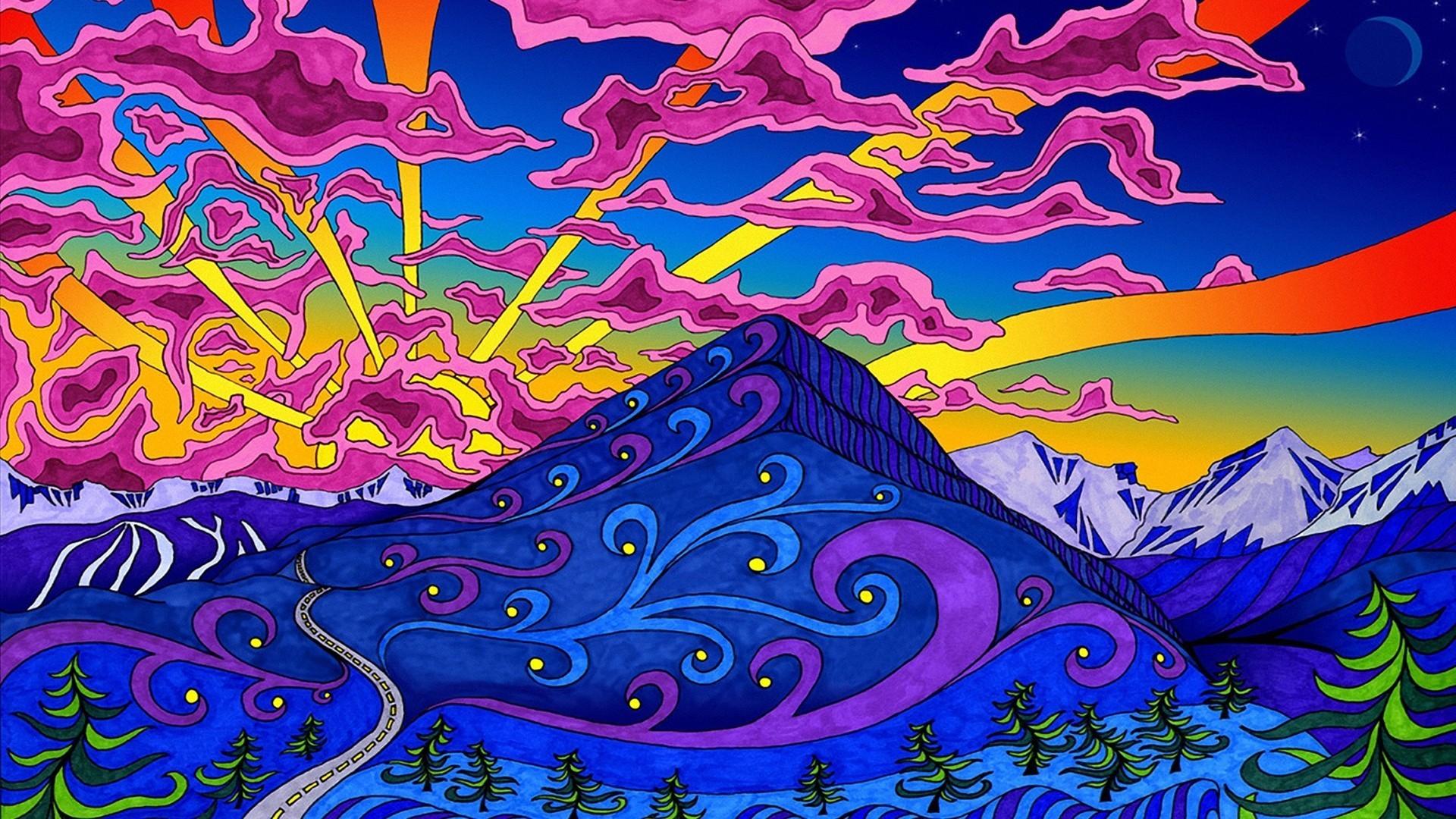 Res: 1920x1080, Berge Landschaften psychedelische Grafik Farben wallpaper