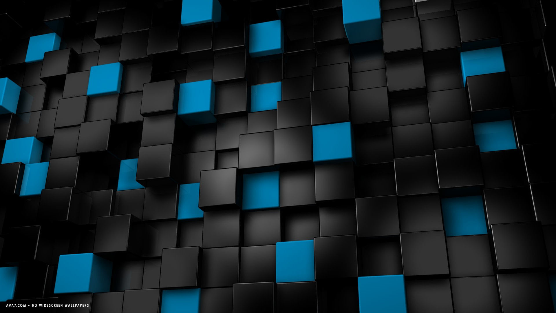 Res: 1920x1080, ... 3d abstract blocks cubes black blue