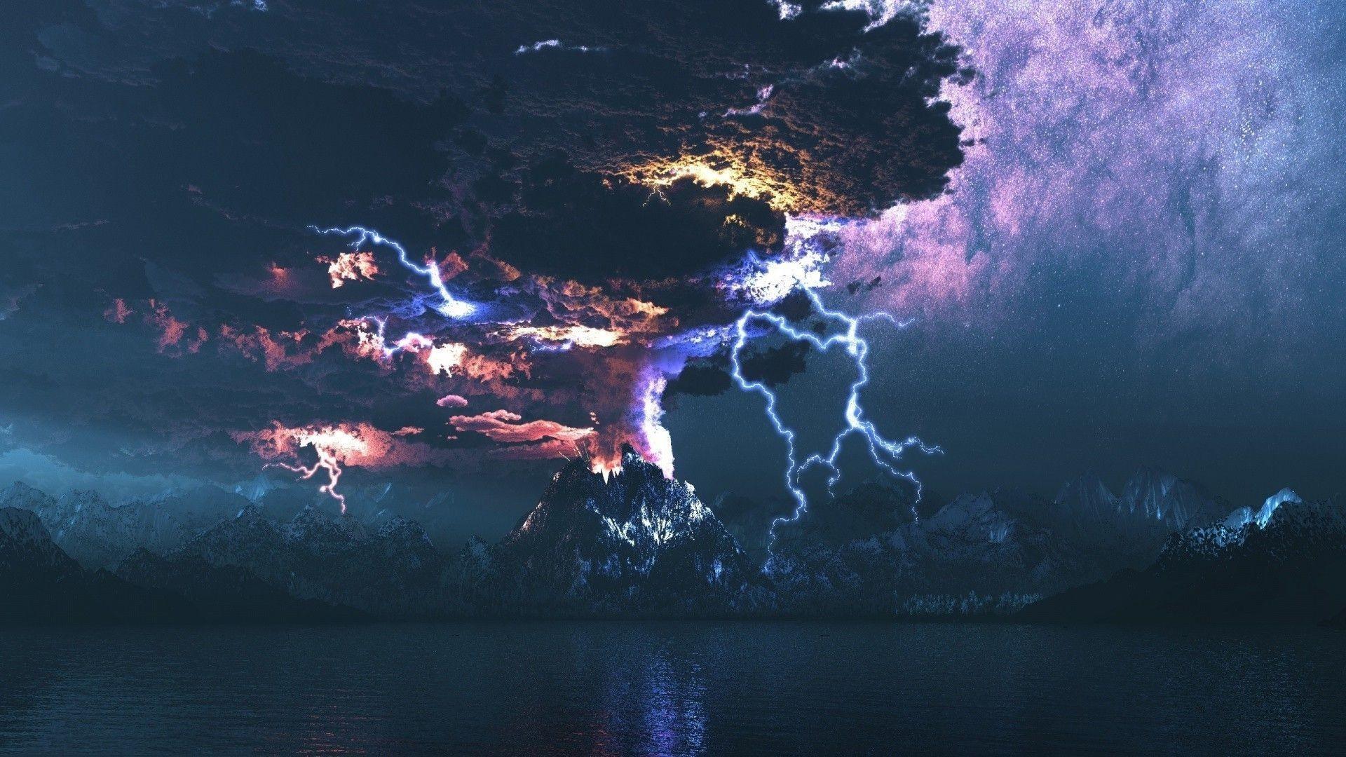 Res: 1920x1080, Volcano Lightning Wallpaper HD