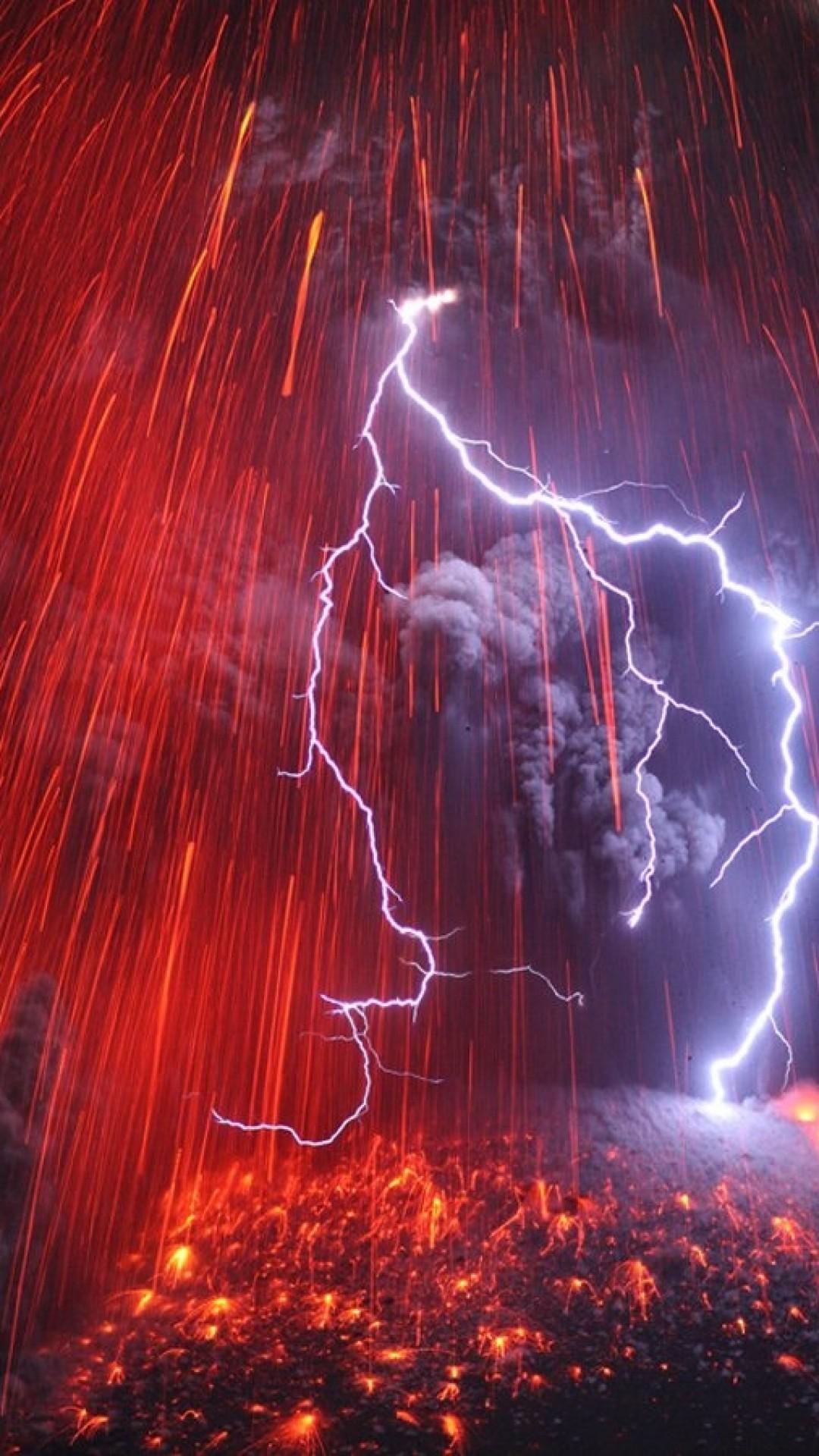 Res: 1080x1920, Volcano, Lightning