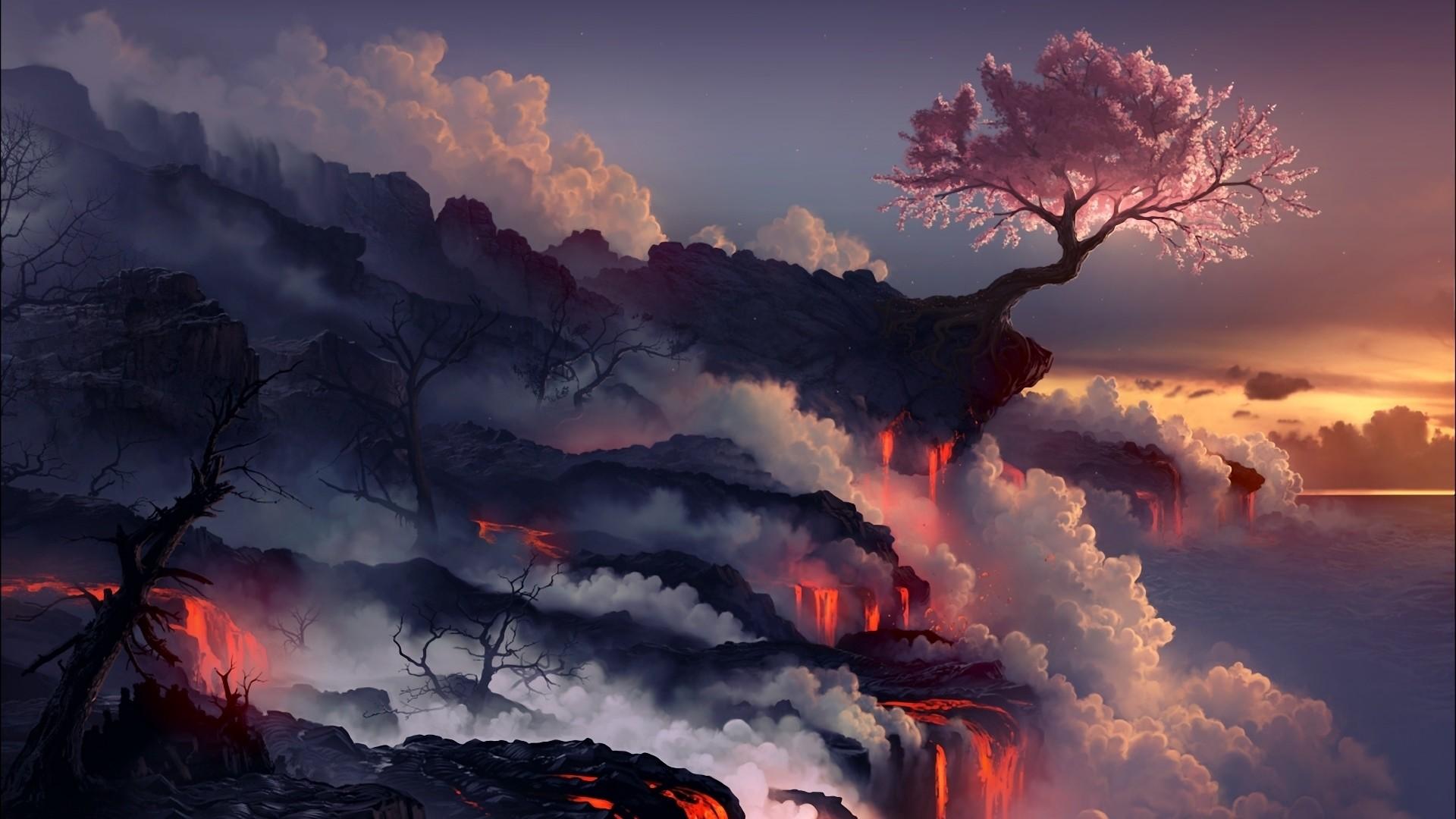 Res: 1920x1080,  Wallpaper eruption, lava, volcano, oriental cherry, tree