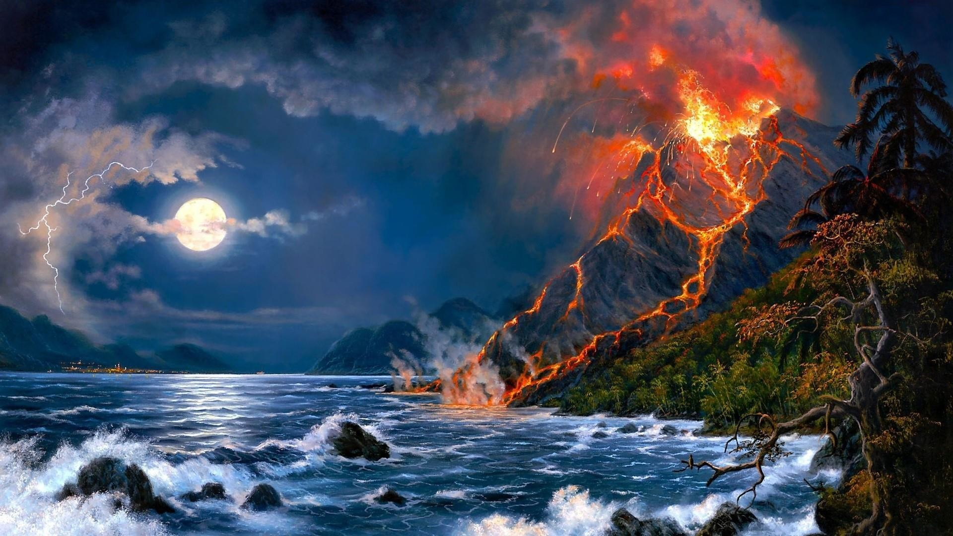 Res: 1920x1080, Volcano Eruption - Fantasy Art Wallpaper   Wallpaper Studio 10   Tens of  thousands HD and UltraHD wallpapers for Android, Windows and Xbox