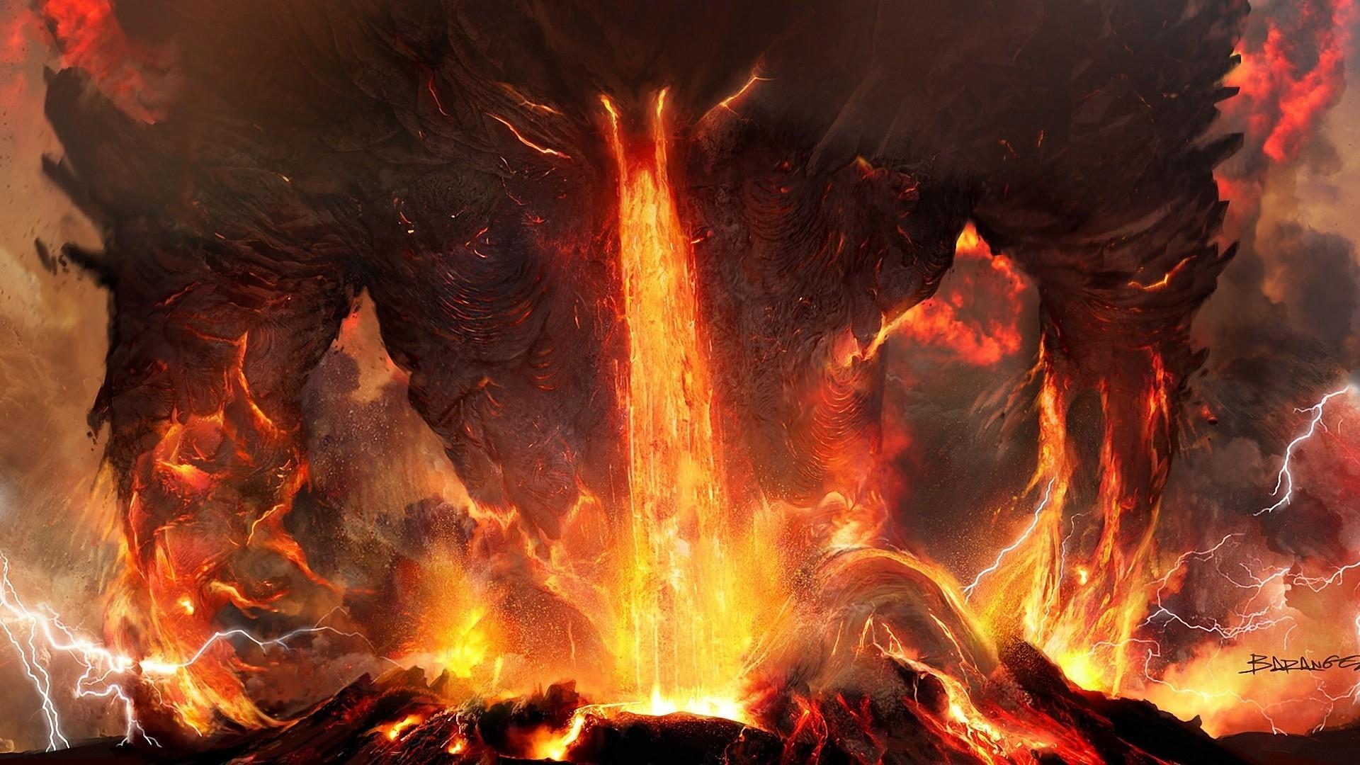 Res: 1920x1080, Art titanium anger fire lightning lava volcano ash demon monster monsters  wallpaper      79353   WallpaperUP