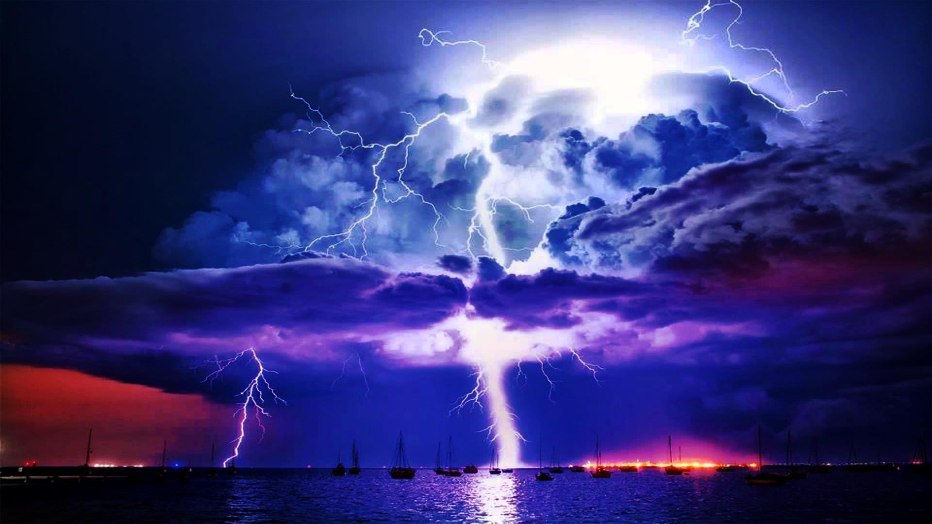 Res: 1920x1080, Lightning Storm Volcano Free Download.