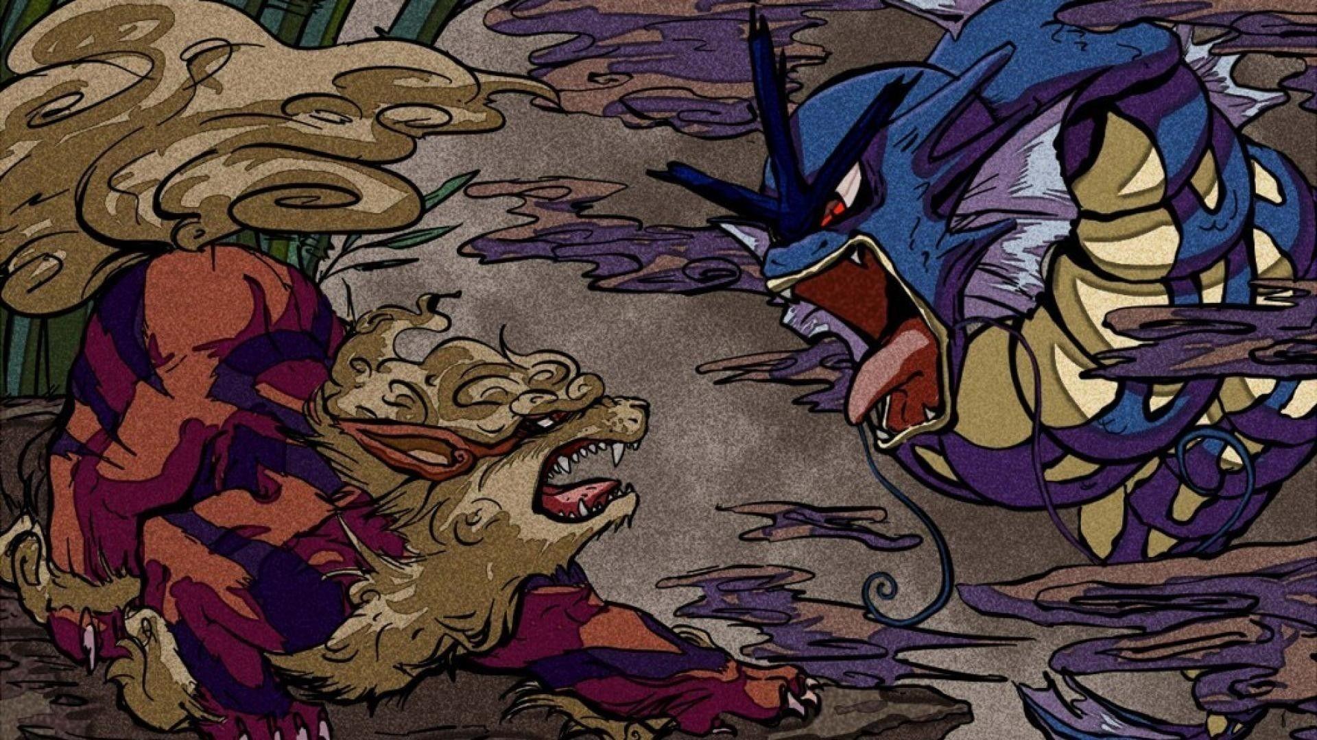 Res: 1920x1080,  Arcanine VS Gyarados Japanese Art Wallpaper Wallpaper
