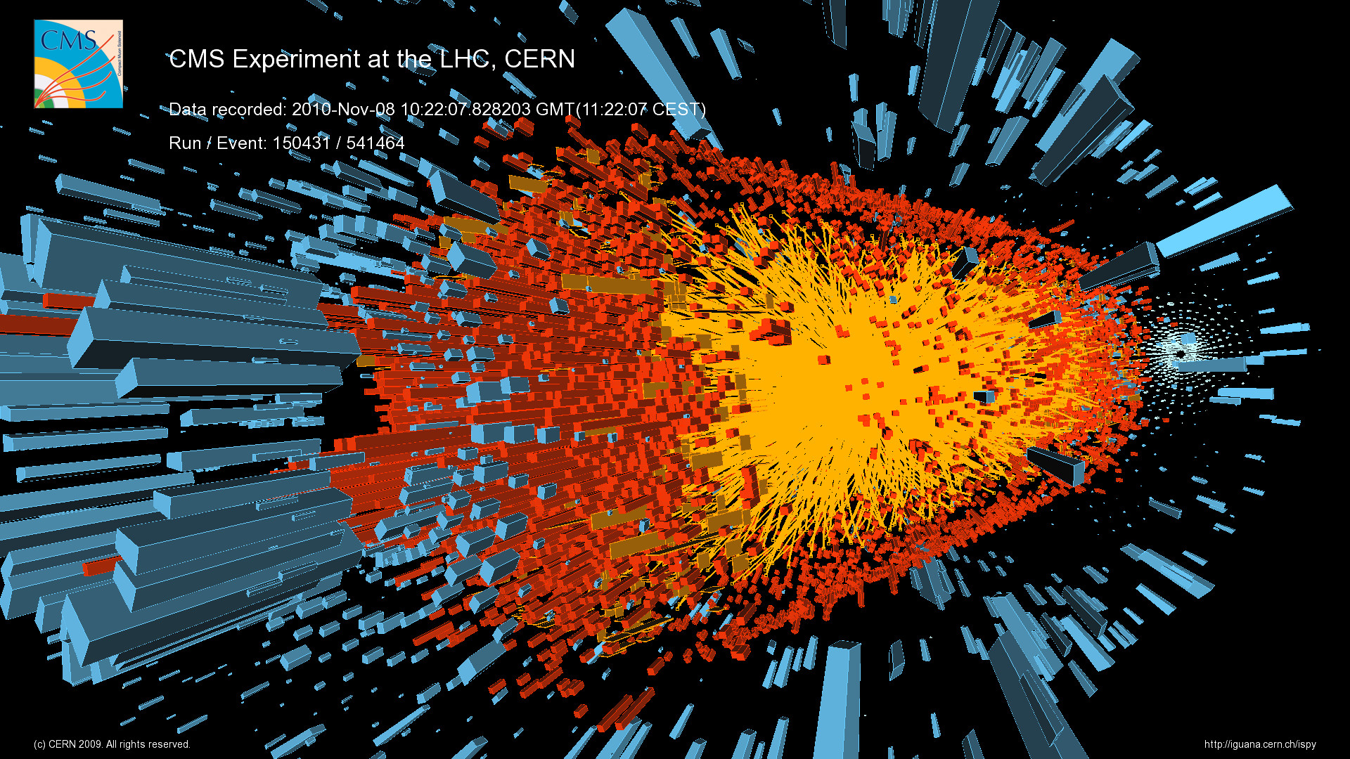 Res: 1920x1080, A lead-ion collision as recorded by the CMS detector at the LHC. <