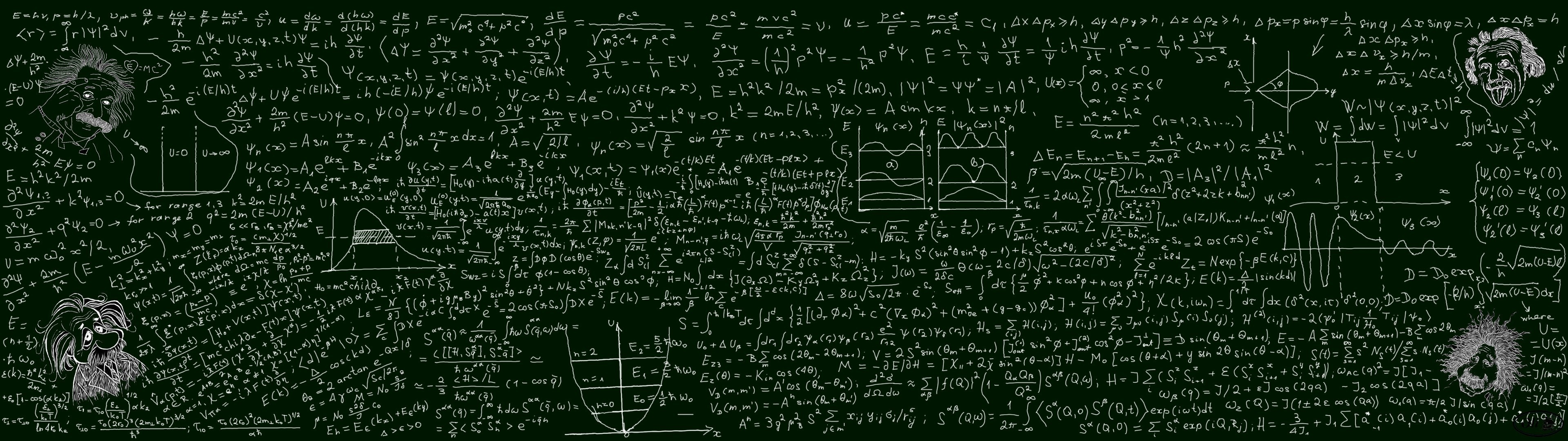 Res: 3840x1080, blackboard, #mathematics, #quantum mechanics | Wallpaper No