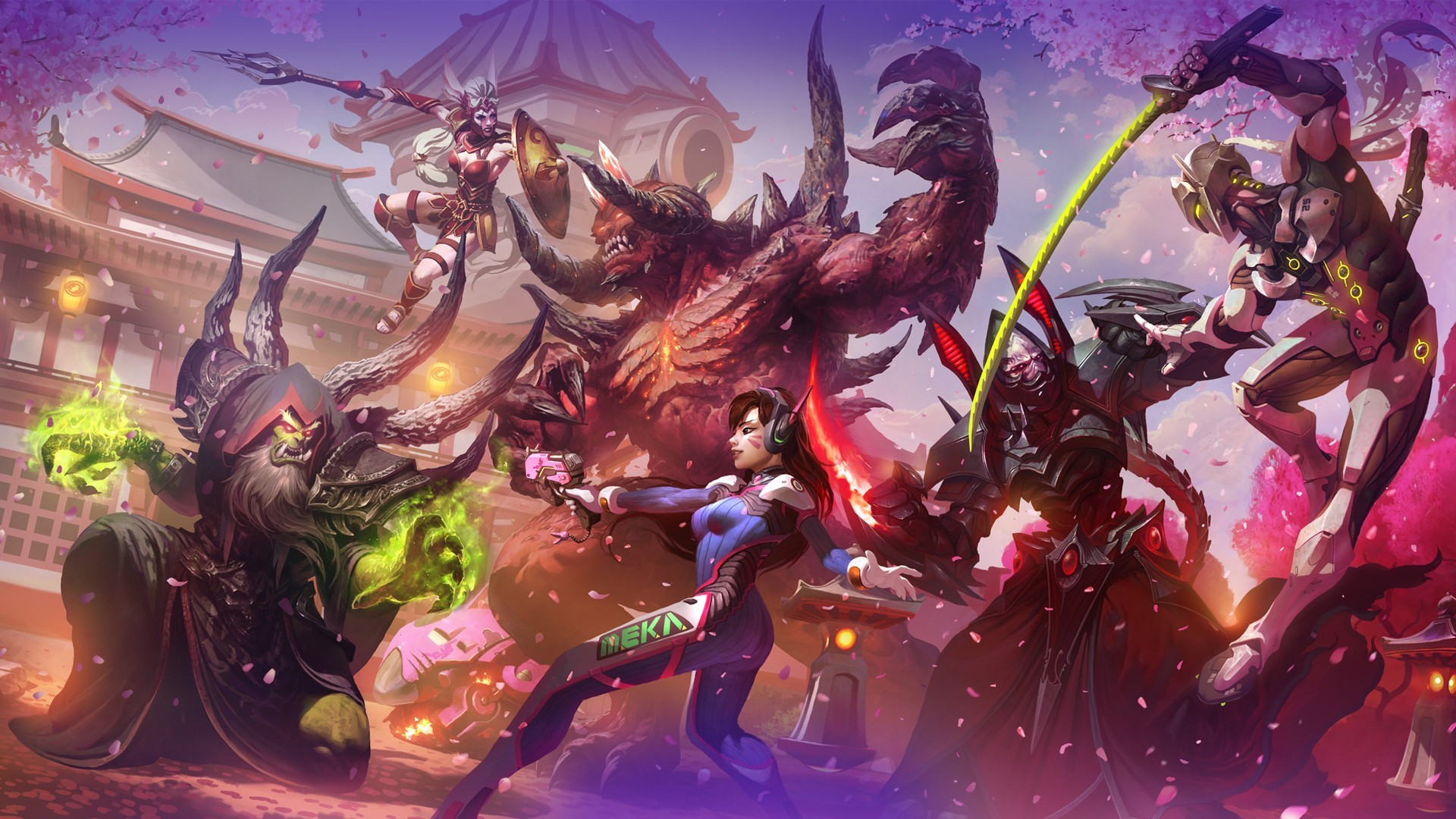 Res: 1920x1080, guldan heroes of the storm diablo d_va overwatch cassia diablo ii alarak  starcraft genji overwatch video games wallpaper and background