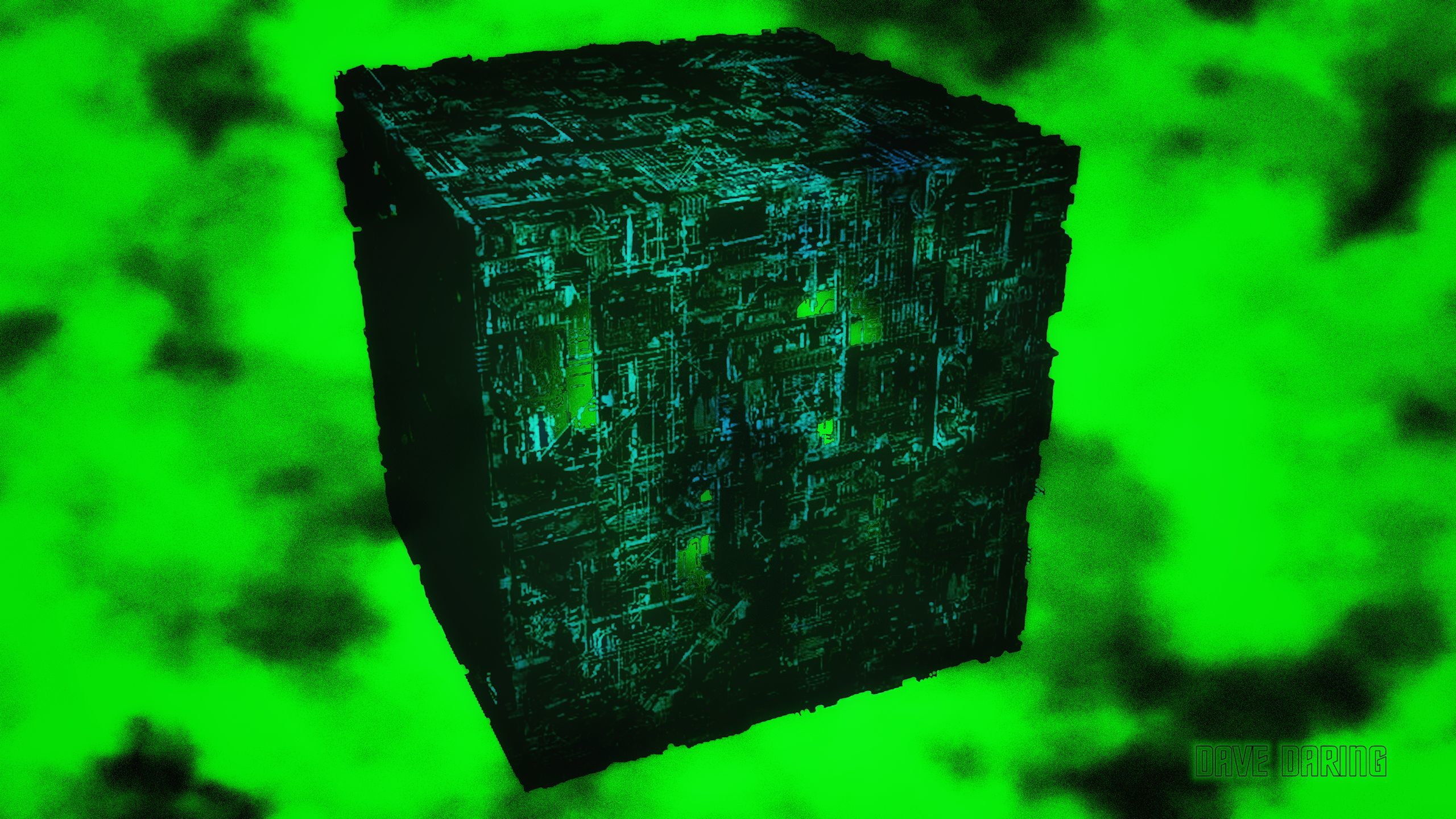 Res: 2560x1440, ... Borg Cube in Fluidic Space by Dave-Daring