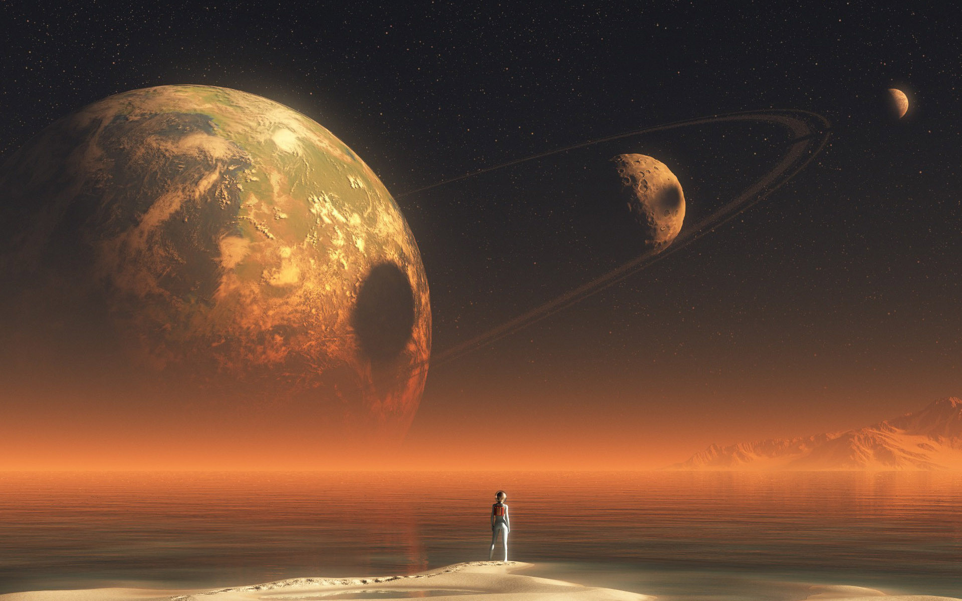 Res: 1920x1200, Alien looking at the planet space hd wallpaper .