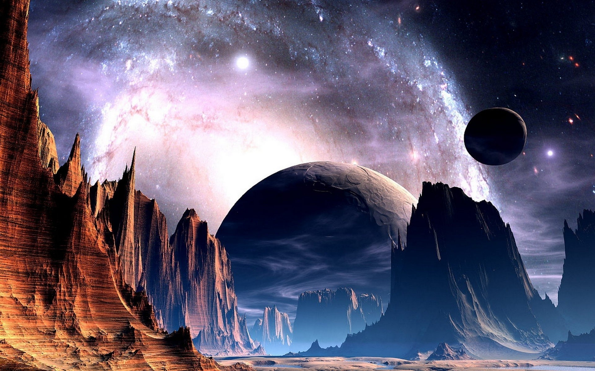Res: 1920x1200, Sci fi science fiction planets alien sky stars nebula galaxy space universe  light bright nature landscapes mountains cliff valley spire art artistic ...
