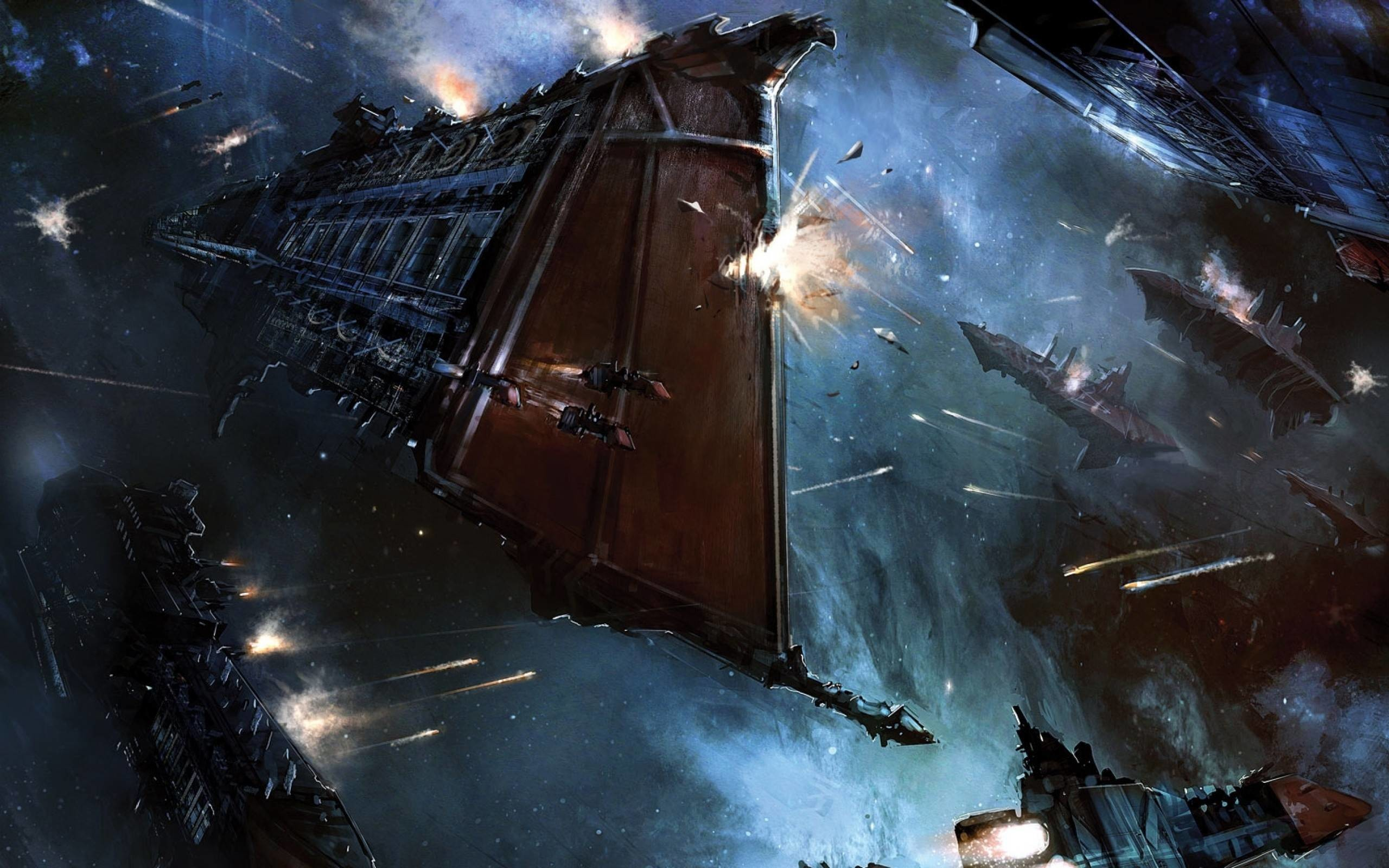 Res: 2560x1600, Imperial Navy space battle wallpaper