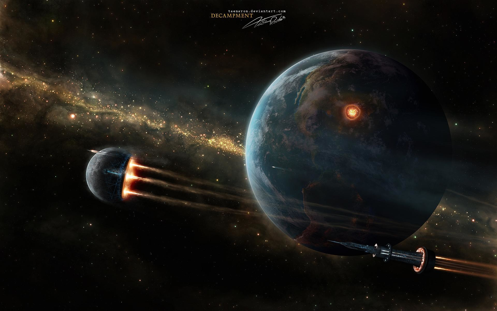 Res: 1920x1200, Wallpaper earth in space battle