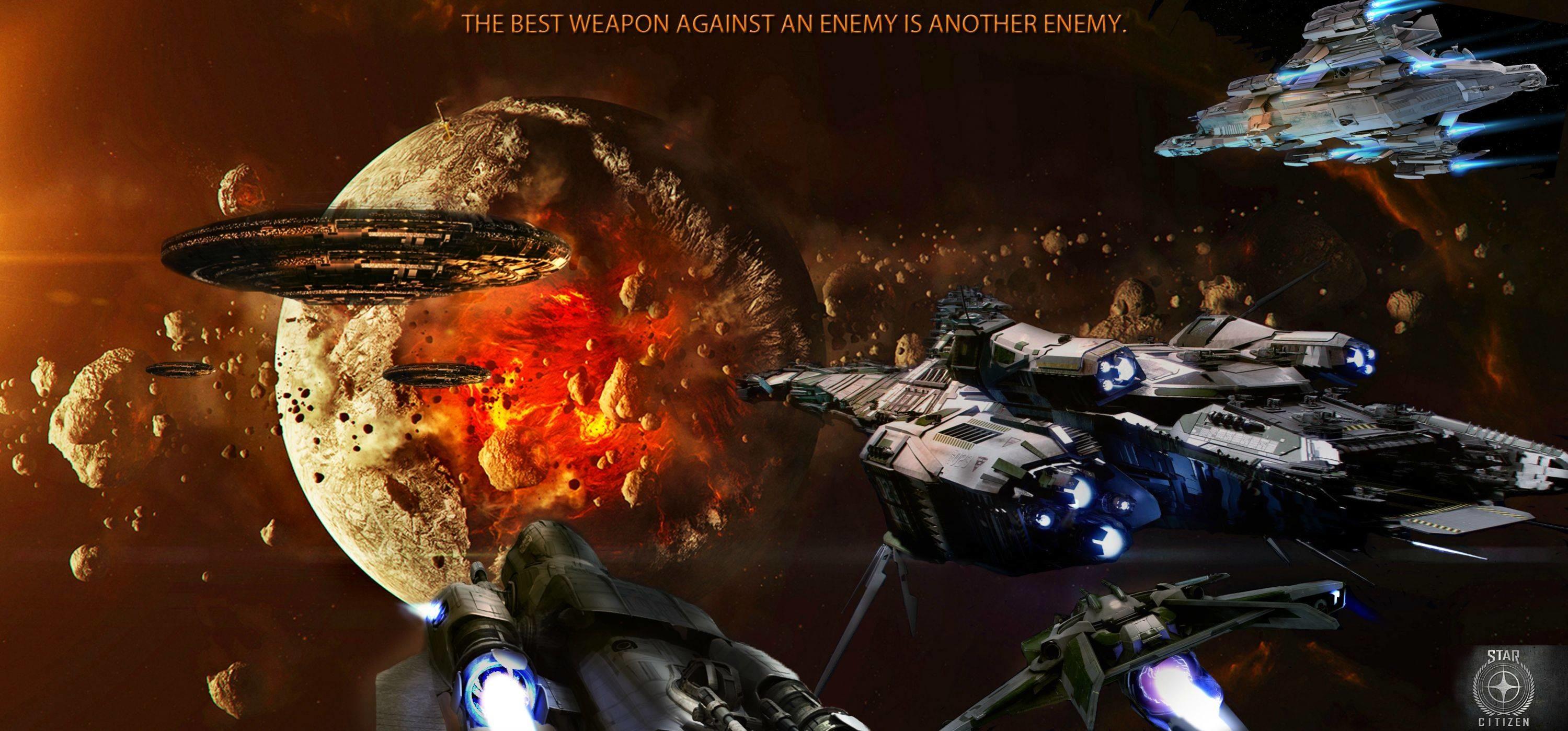 Res: 2999x1399, STAR CITIZEN sci-fi spaceship game space battle h wallpaper |  |  167655 | WallpaperUP
