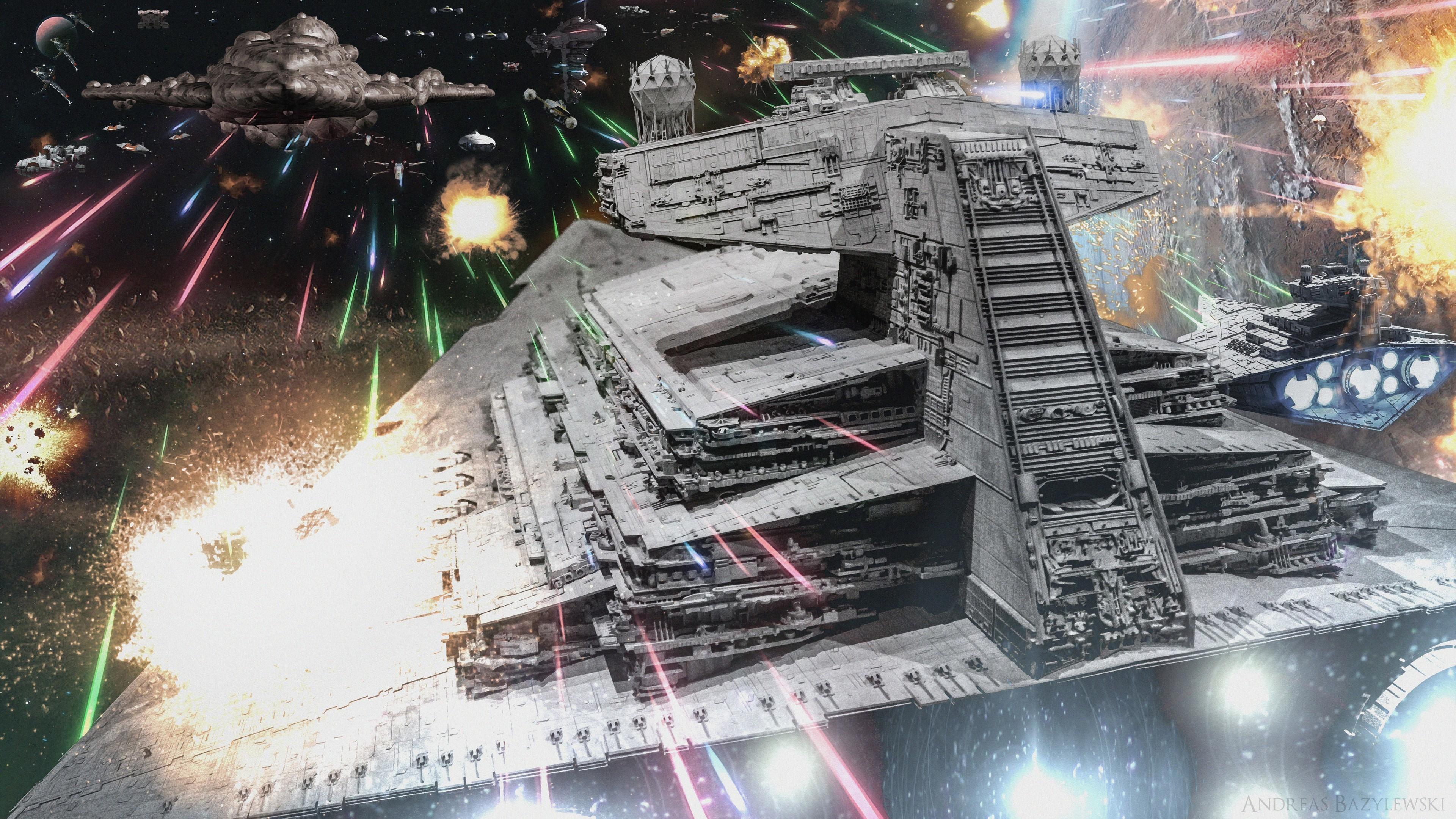 Res: 3840x2160, Star Wars Star Destroyer Spaceship Battle Wallpaper