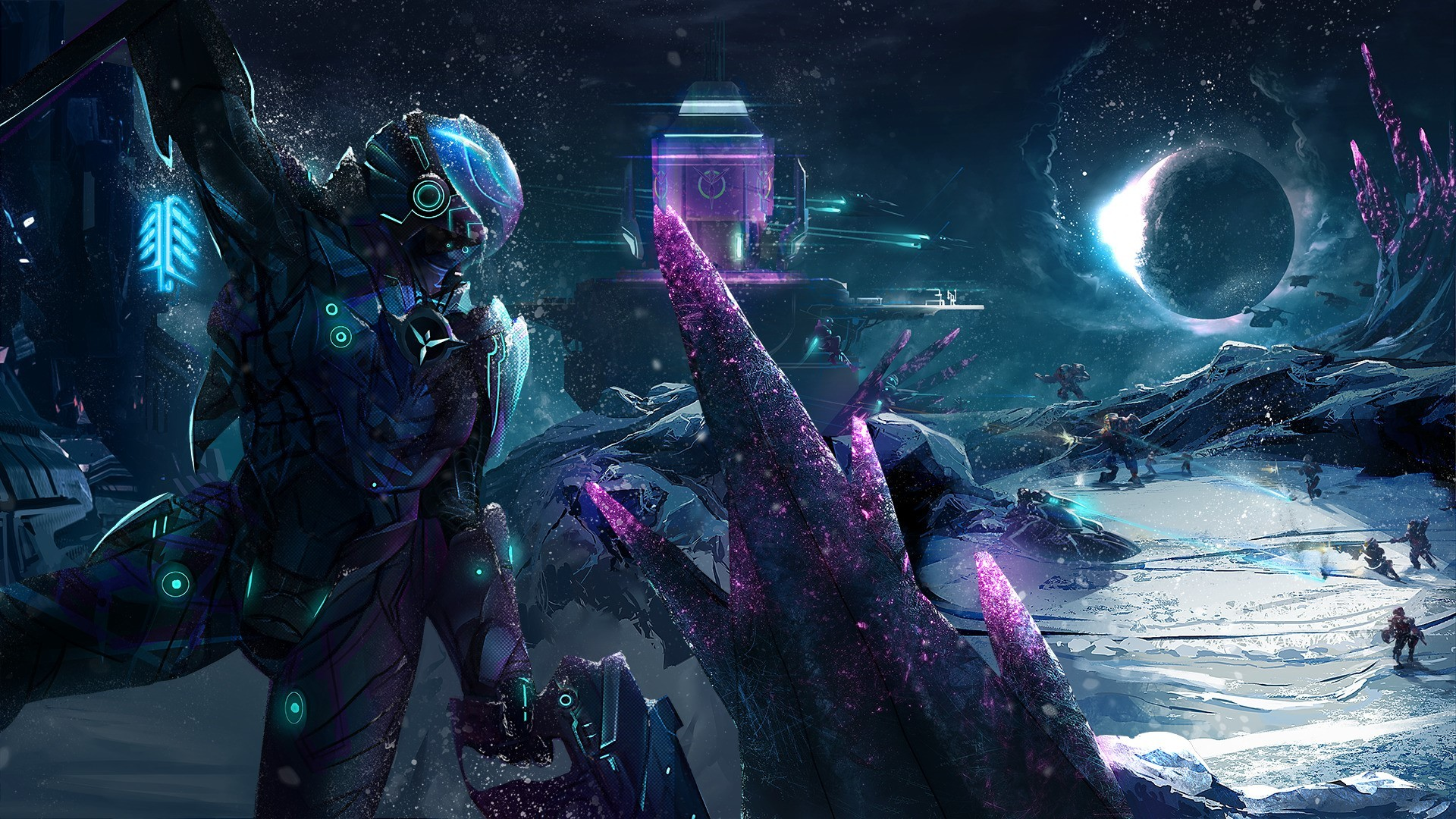 Res: 1920x1080, futuristic battle space ice spaceship robot planetside 2 vanu sovereignty  wallpaper and background