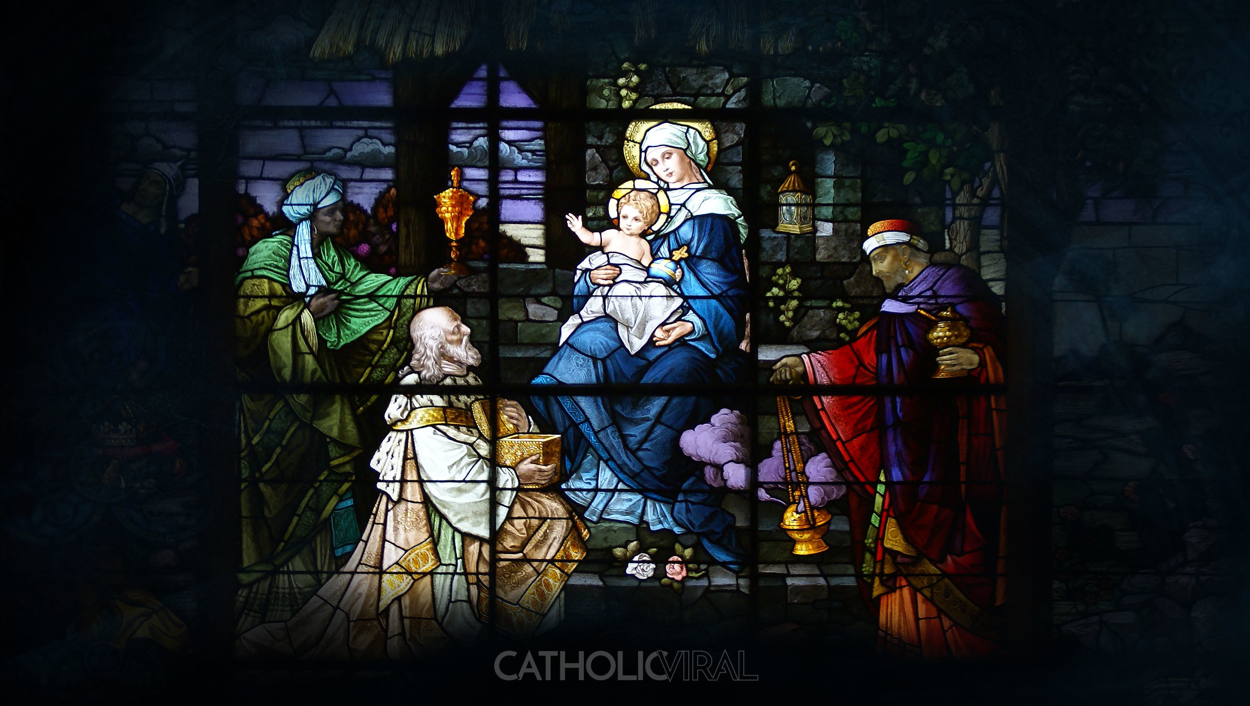 Res: 2550x1440, 17 Stunning Stained-Glass Windows of the Nativity - HD Christmas Wallpapers  - The Adoration