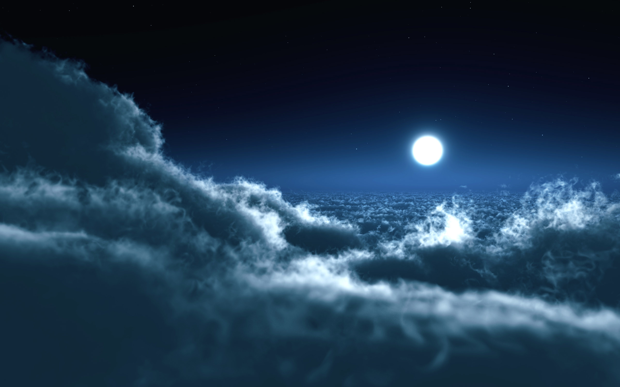Res: 2560x1600, Moon Over Clouds Wallpapers HD Wallpapers