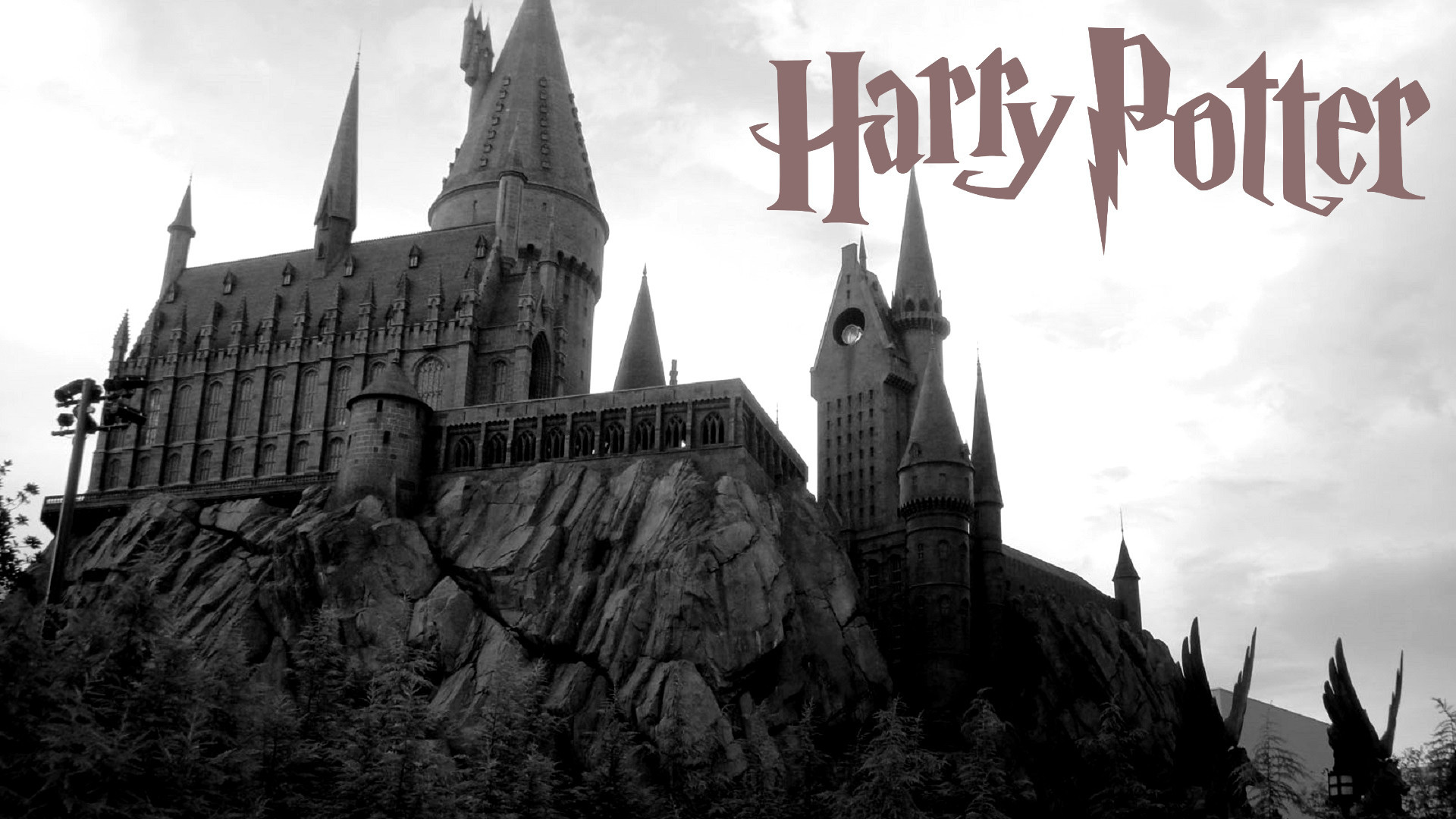 Res: 1920x1080, Harry Potter Wallpaper with logo and Hogwarts
