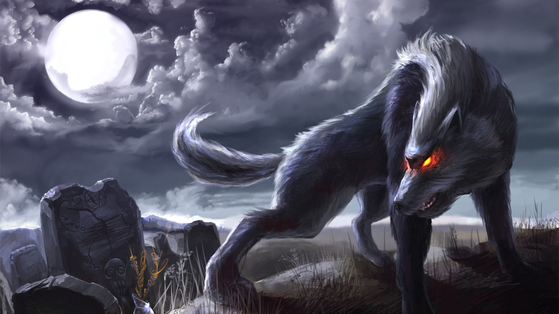 Res: 1920x1080, HD Angry Wolf Moon Animated Wallpaper HD Full Size .