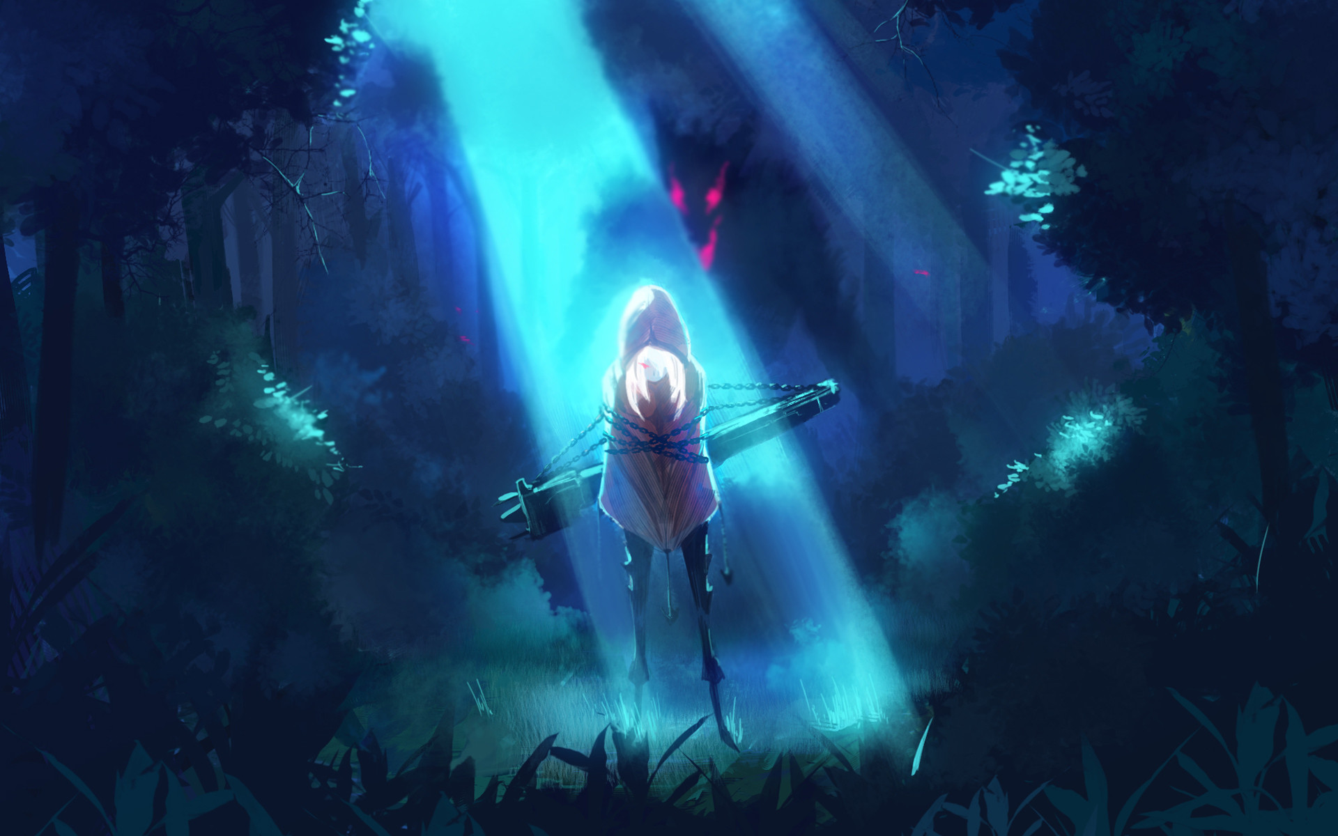 Res: 1920x1200, Anime Girl Forest Night Wolf HD Wallpaper