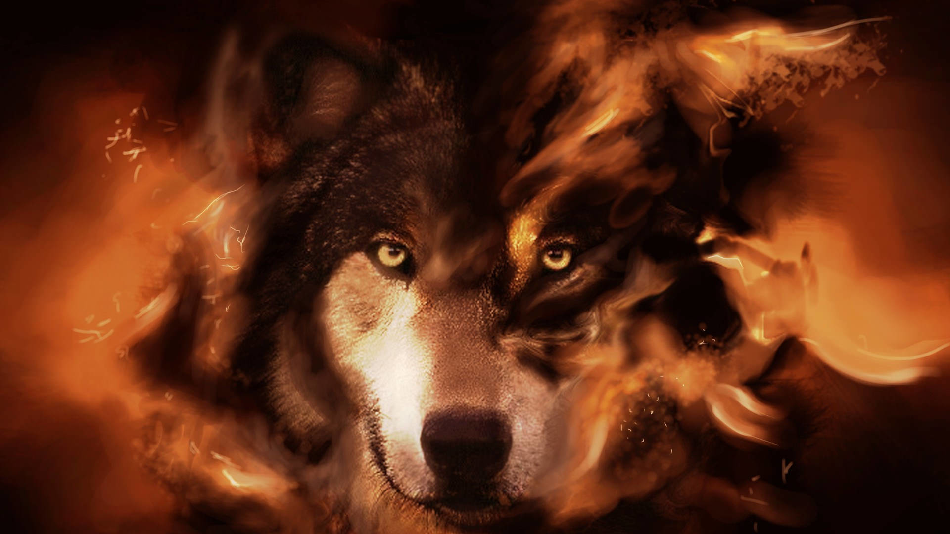 Res: 1920x1080, Graphically Designed Wolf Wallpaper