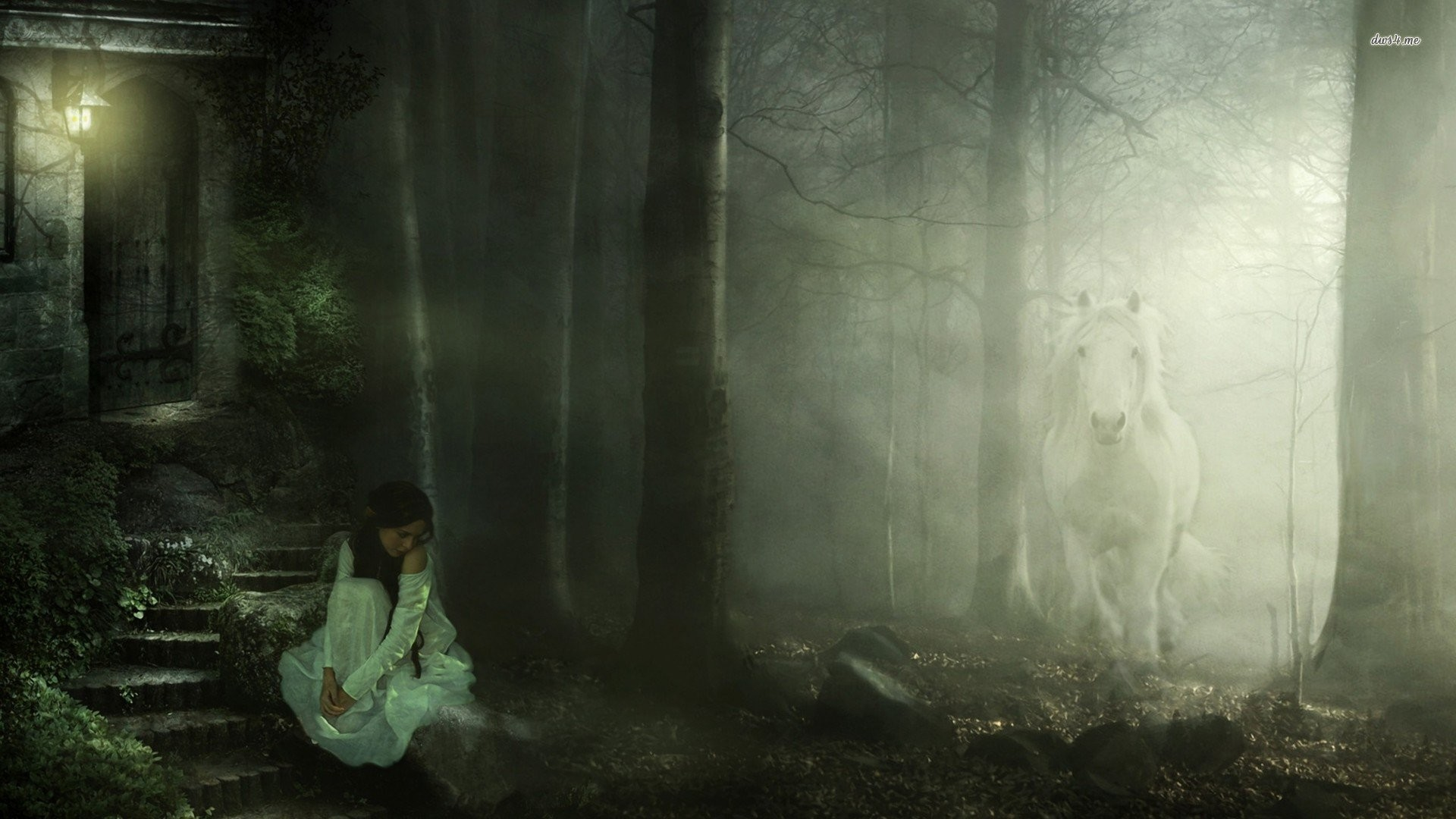 Res: 1920x1080, girl in the foggy forest