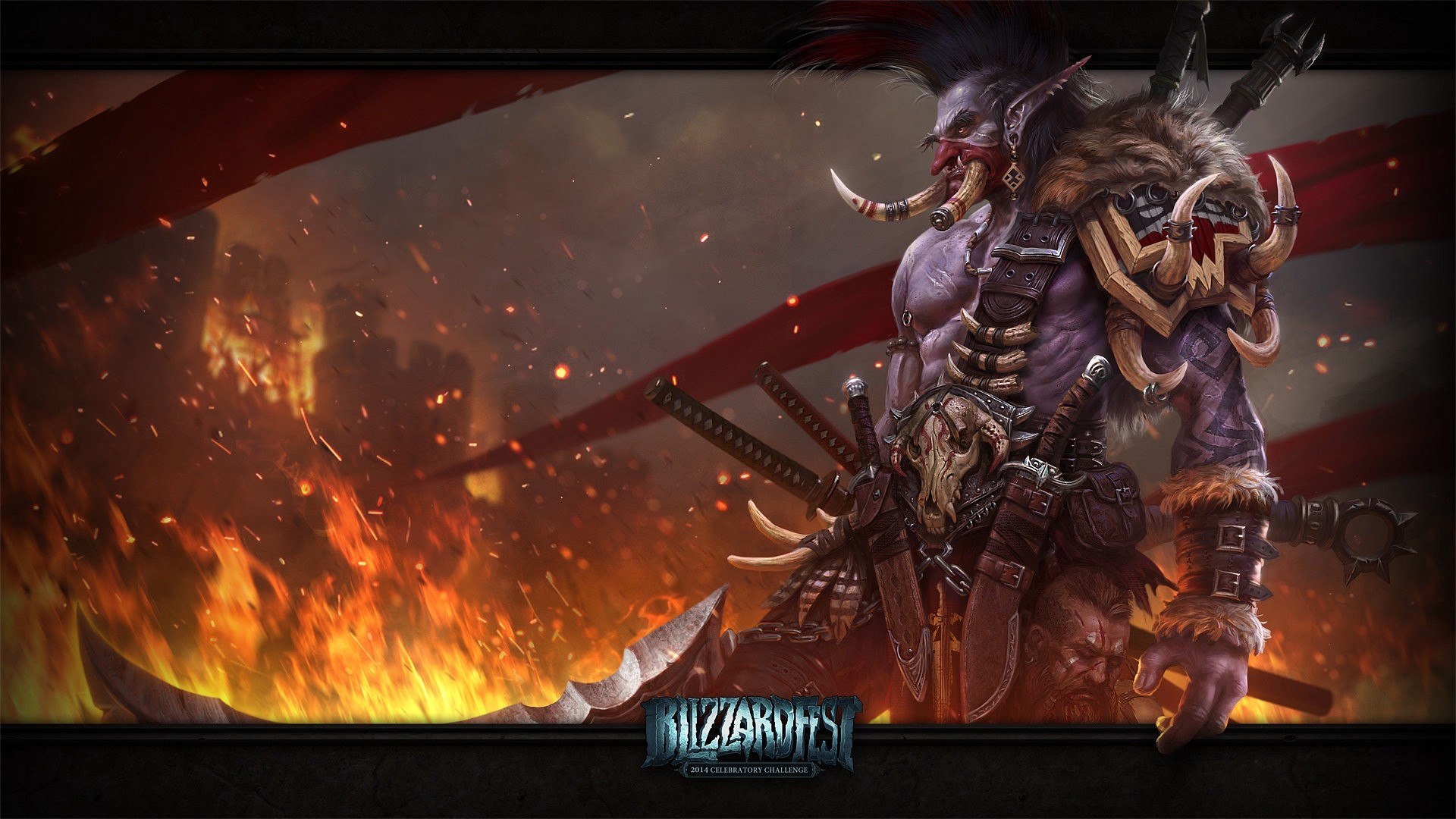 Res: 1920x1080,  Wallpaper world of warcraft, troll, weapons, art
