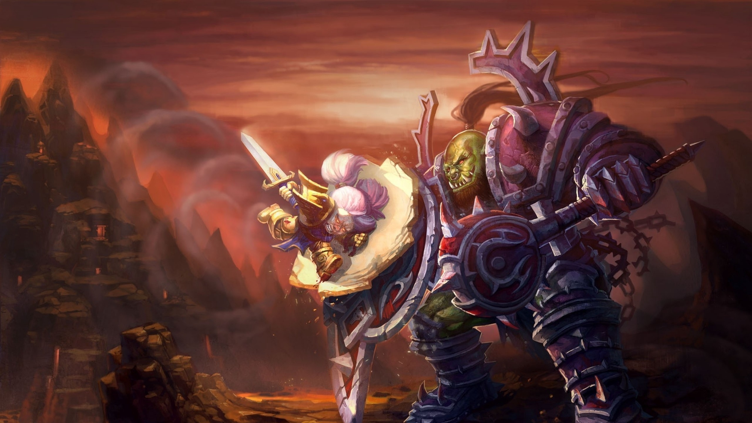 Res: 2560x1440,  Wallpaper world of warcraft, wow, orc, warrior, dwarf, paladin