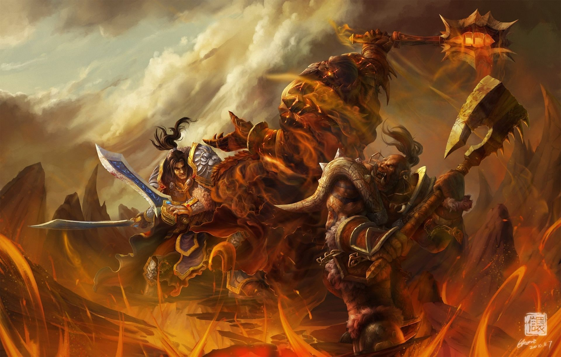 Res: 1920x1222, World of WarCraft WoW Warrior Orc Battle Monster axe Games fantasy .