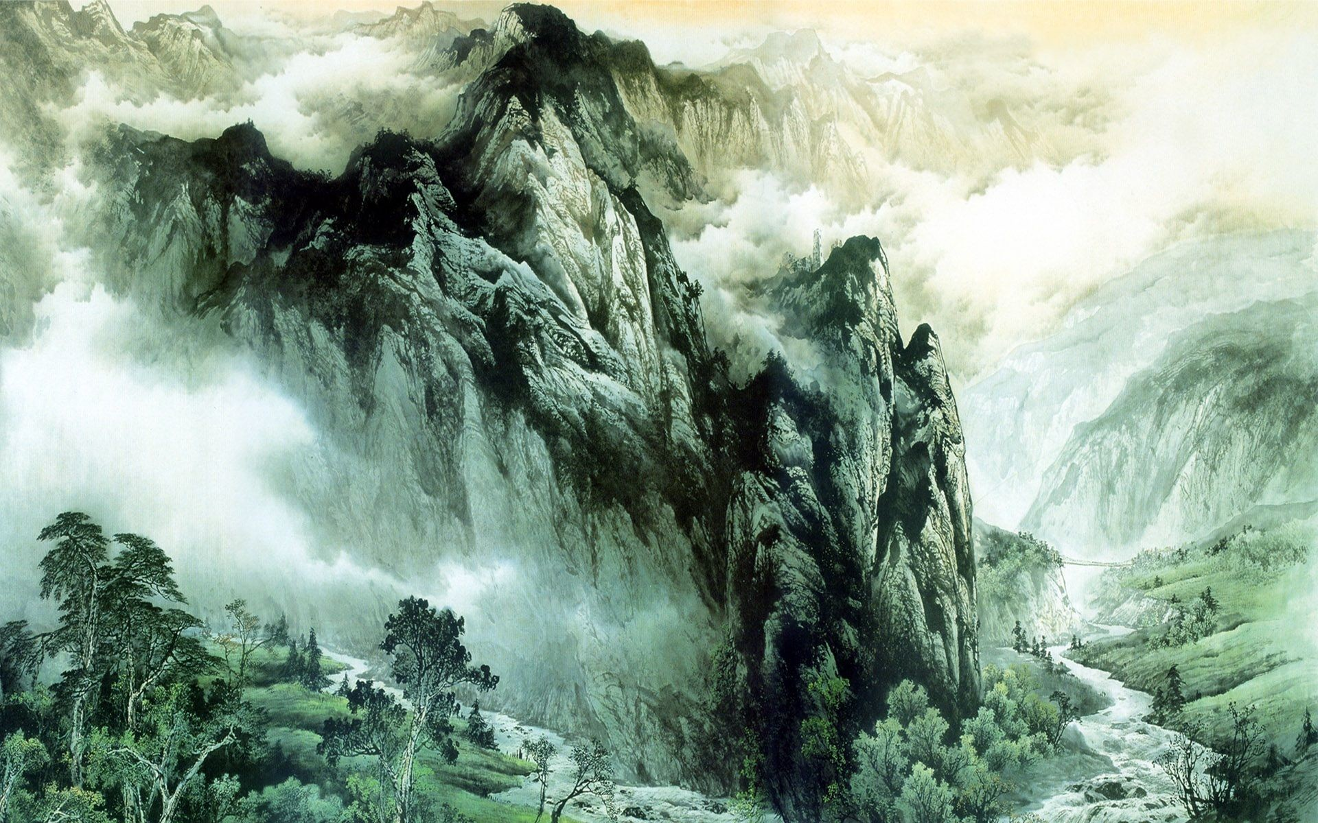 Res: 1920x1200, Chinese ink painting mountains and rivers wallpaper