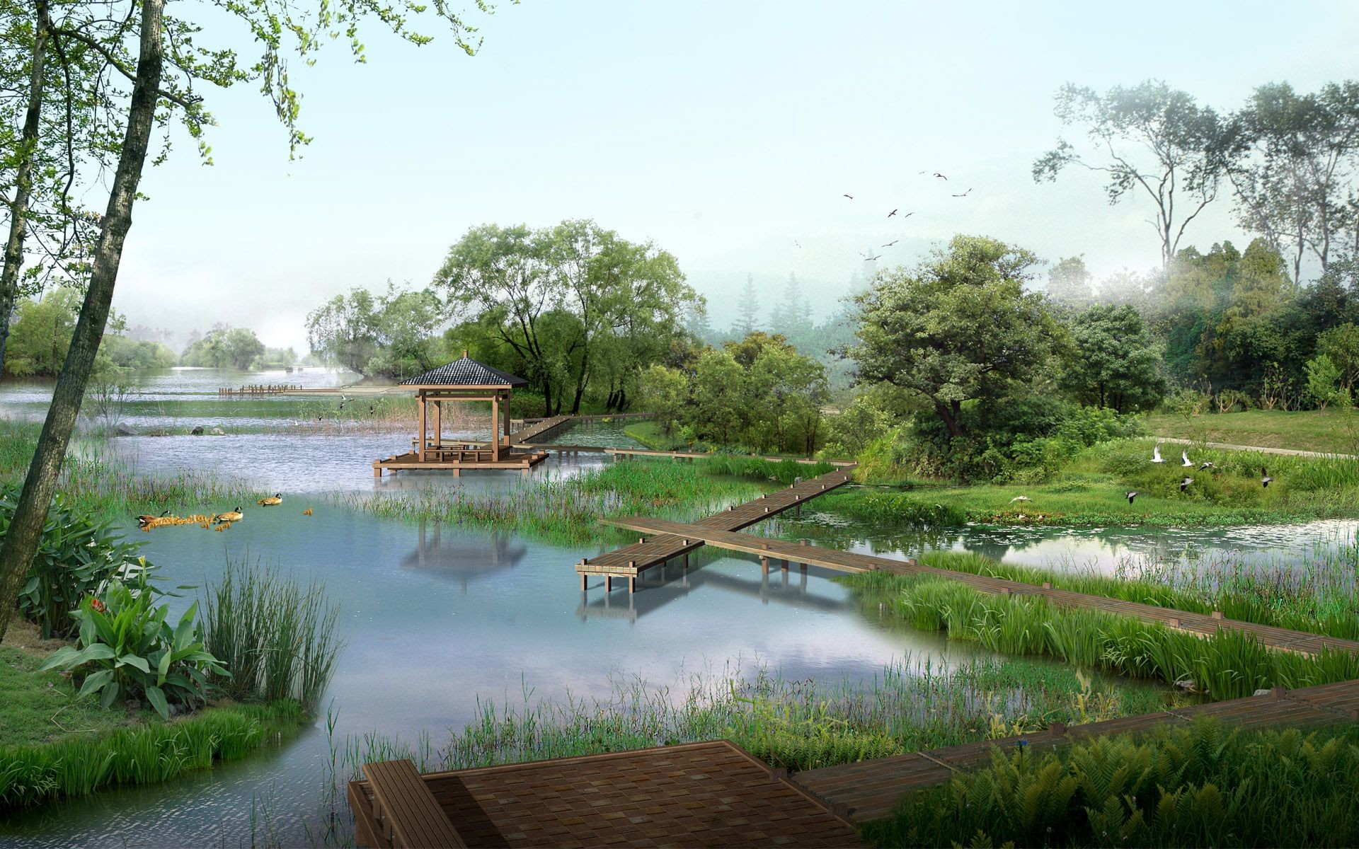 Res: 1920x1200, Garden Architecture Renderings 14055 Architectural Landscape Design