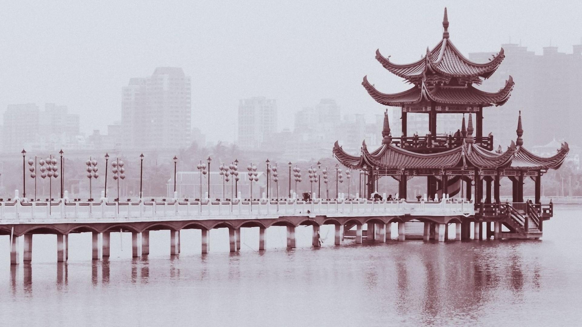 Res: 1920x1080, Chinese monochrome  wallpaper Design bridges buildings black white  wallpaper |  | 46098 | WallpaperUP