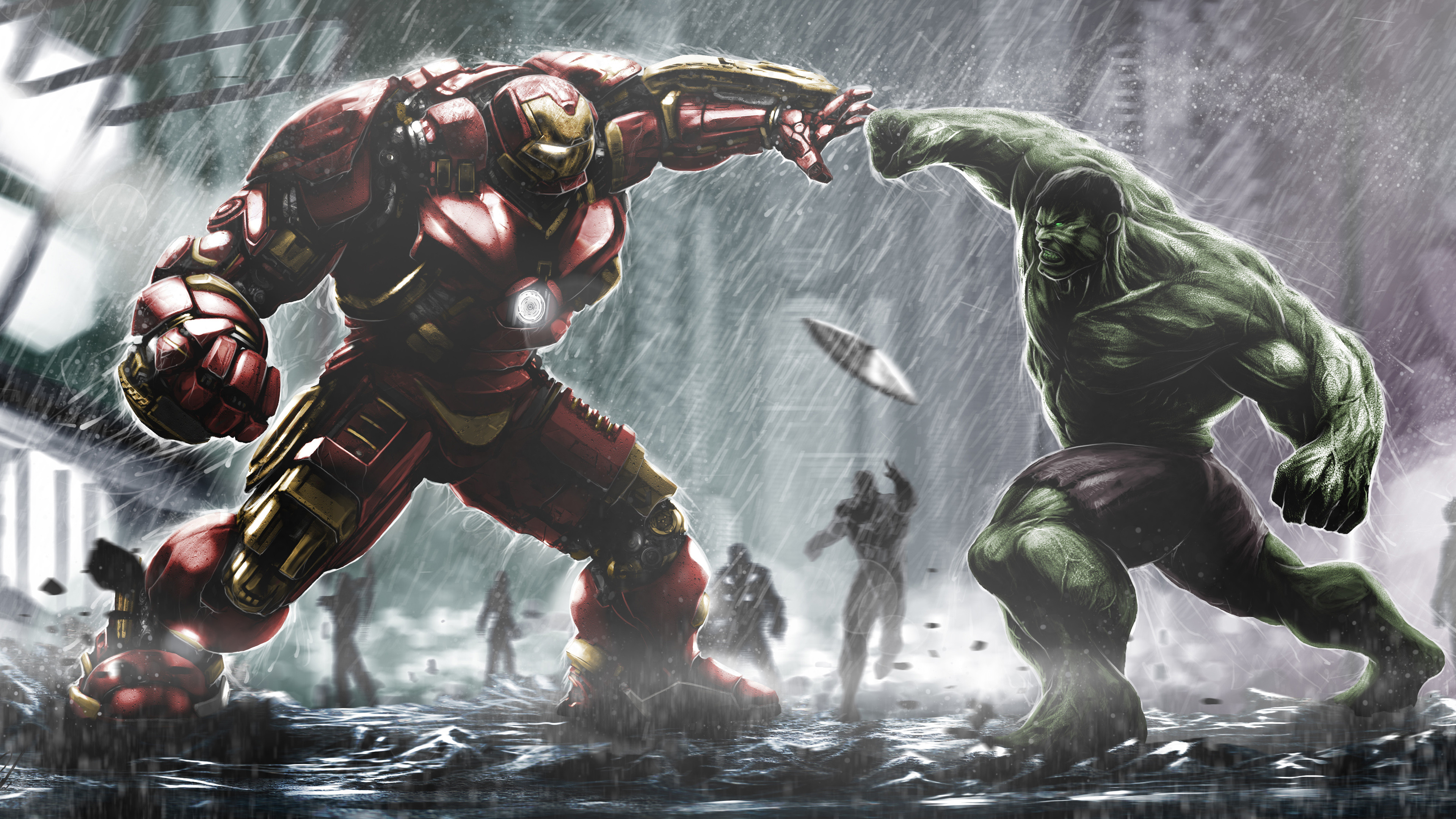 Res: 3840x2160, Hulkbuster Ironman Vs Hulk Wallpaper