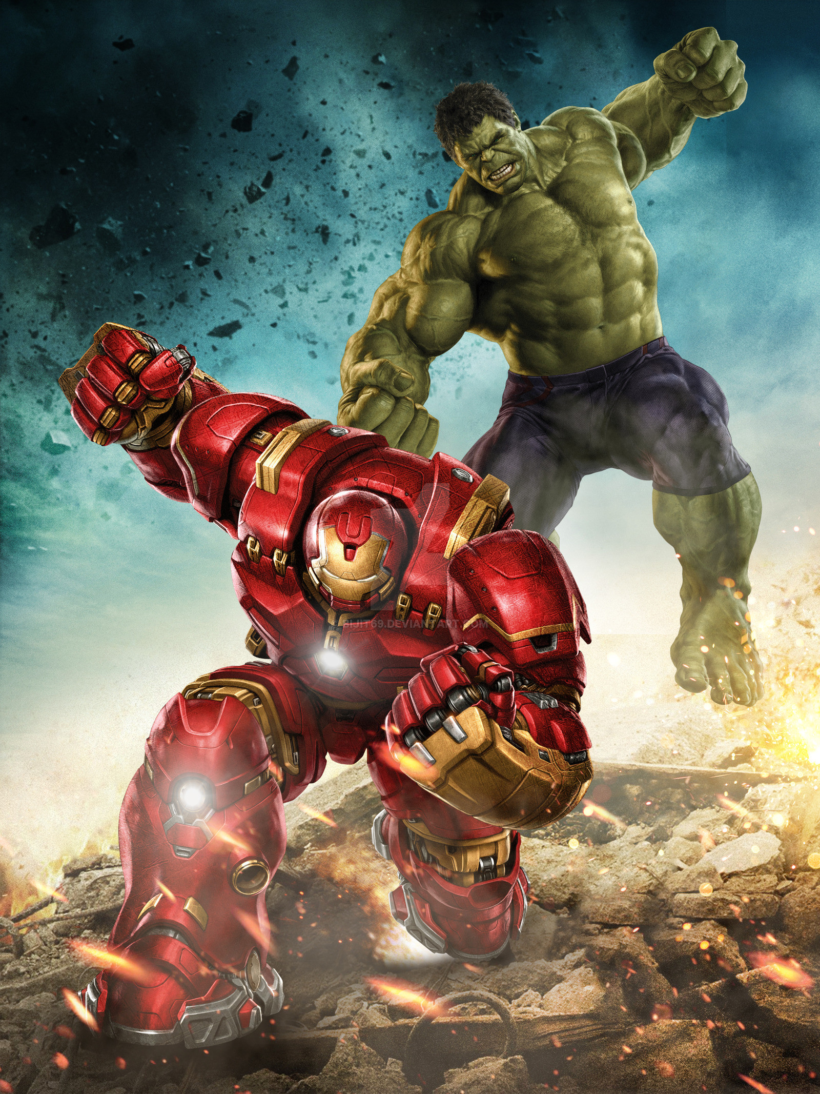 Res: 1600x2133, hulk vs hulkbuster by bijit69 watch fan art wallpaper movies tv 2015
