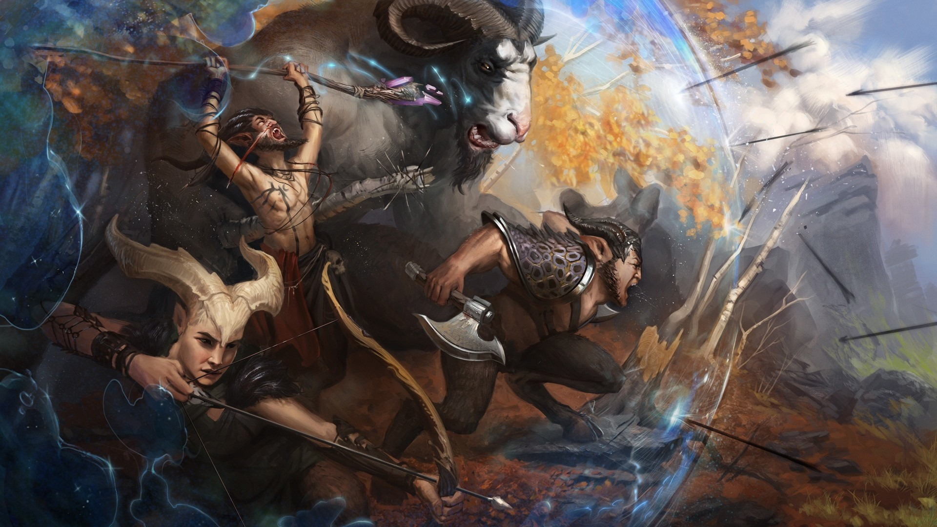 Res: 1920x1080, Satyr, Greek Mythology, Creatures, Horns, Bow, War, Artwork