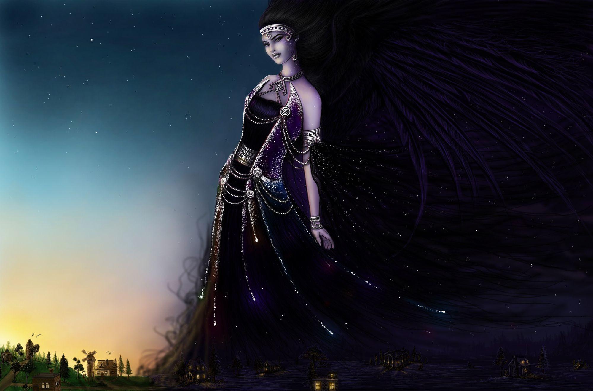 Res: 2000x1319, Fantasy Women Greek Goddess Nyx Night Wallpaper- Emanuella Kozas Deviant Art