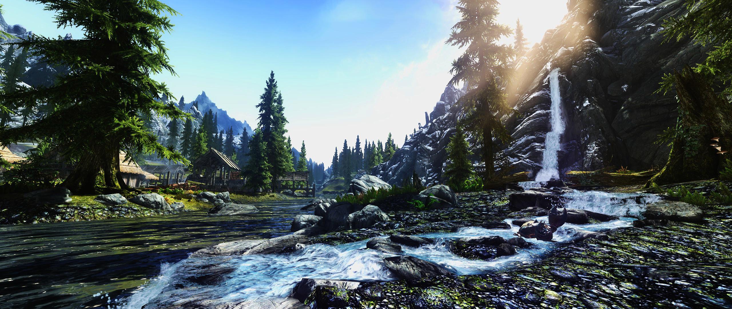 Res: 2560x1080, Computerspiele - The Elder Scrolls V: Skyrim Gebirge Pine Tree Skyrim  Wasser Fluss Wasserfall Wallpaper