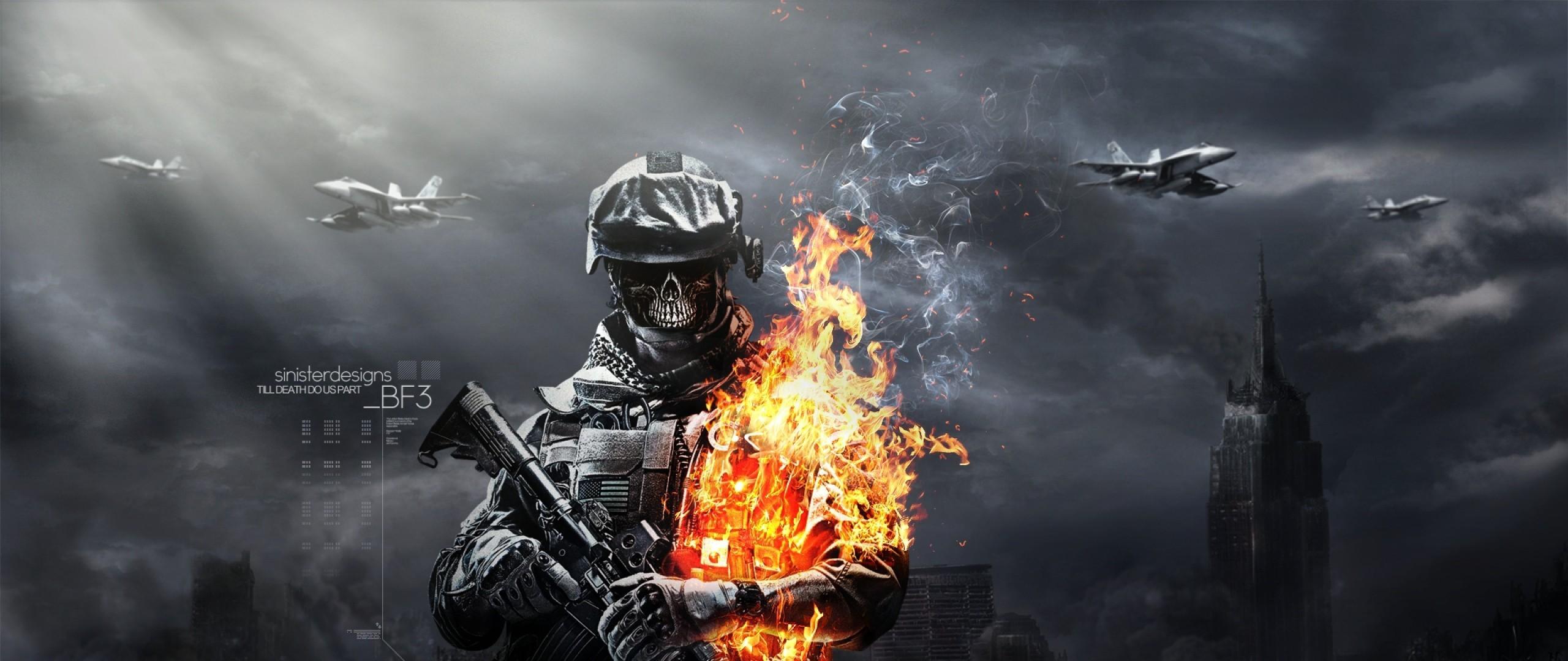 Res: 2560x1080,   Wallpaper battlefield, aviation, ammunition, skull, gun  .