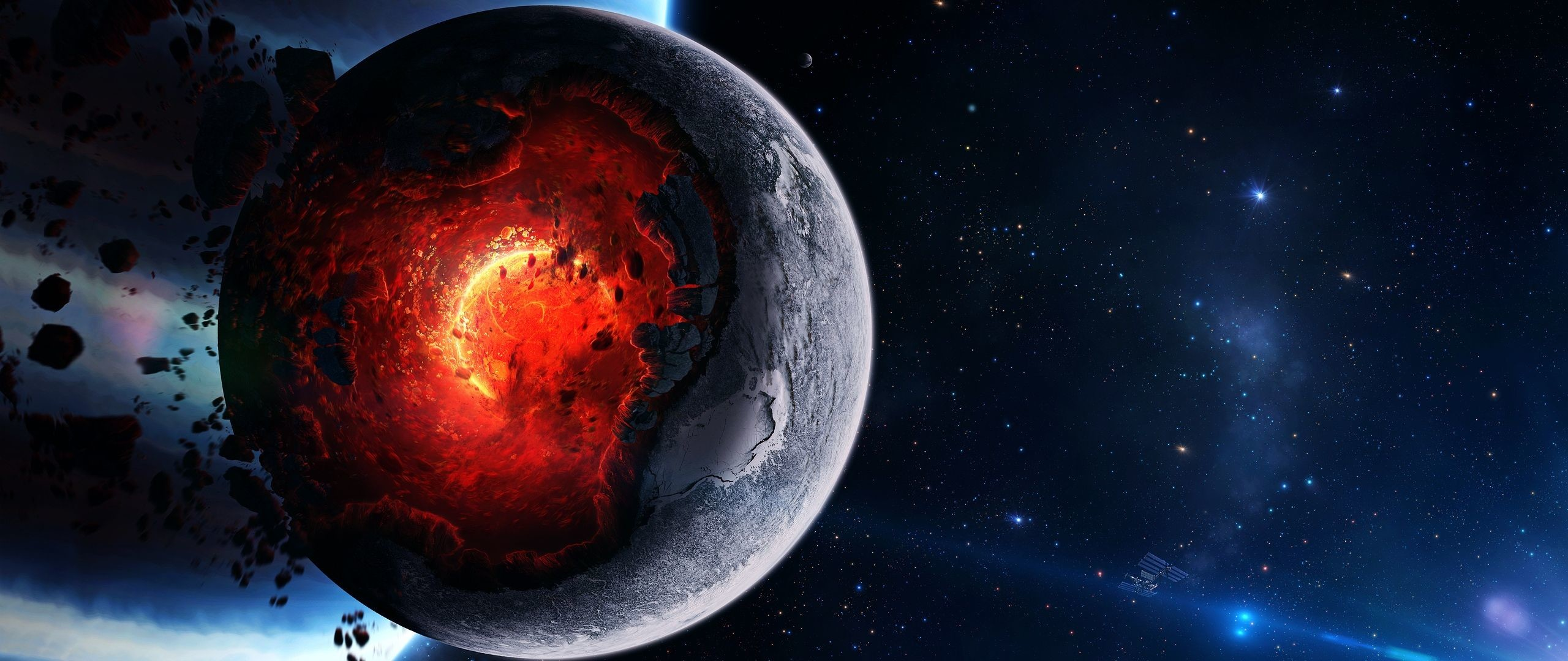 Res: 2560x1080, Download Wallpaper  Space, Cataclysm, Planet, Art, Explosion,  Asteroids, Comets