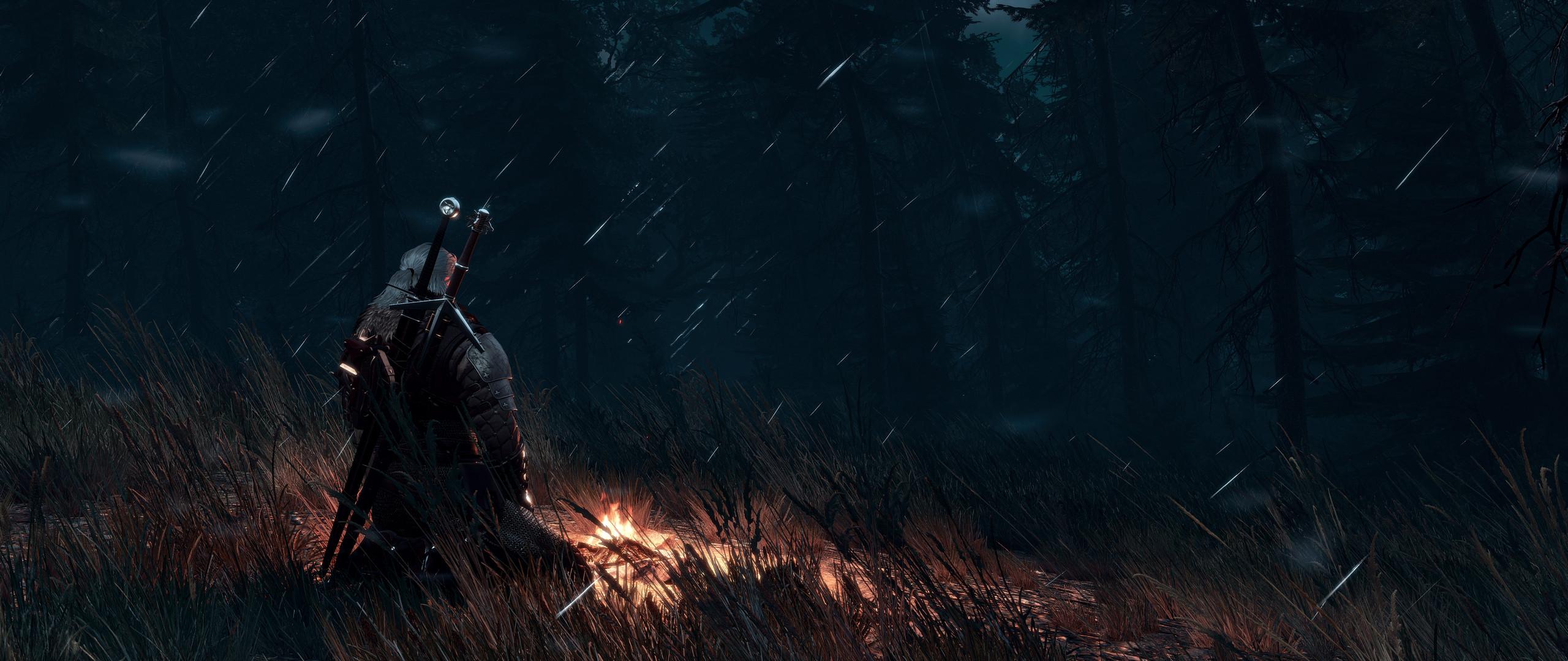 Res: 2560x1080, Computerspiele - The Witcher 3: Wild Hunt Feuer Bonfire Meditation Night  Geralt of Rivia Wallpaper