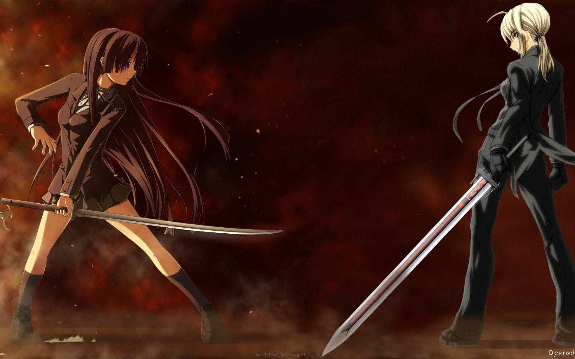 Res: 1920x1200, Anime Girl Fighting - WallDevil