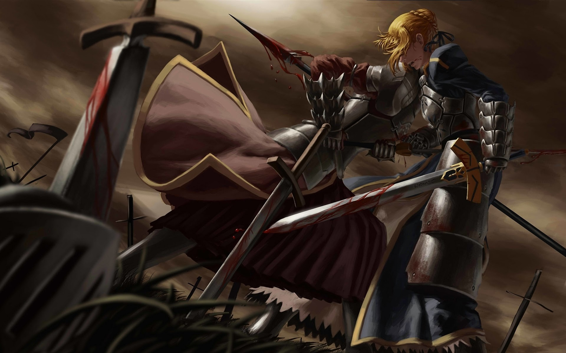 Res: 1920x1200, saber fighting fate stay night wallpaper anime blonde armor girl sword  knight  widescreen a798.