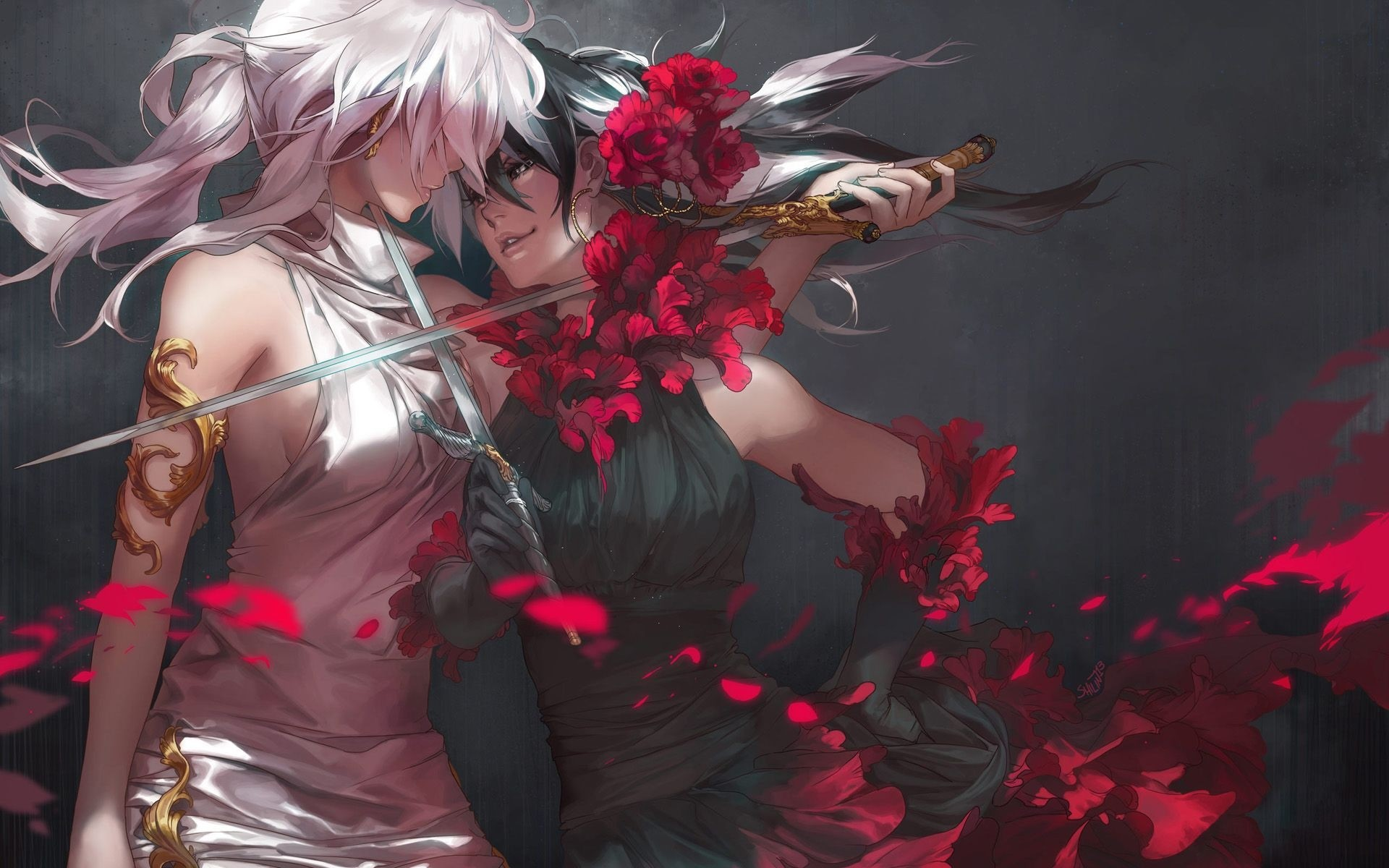 Res: 1920x1200, Best of Anime Fighter Girl Wallpaper Collection - two girls fighting blade  sword beautiful female flower