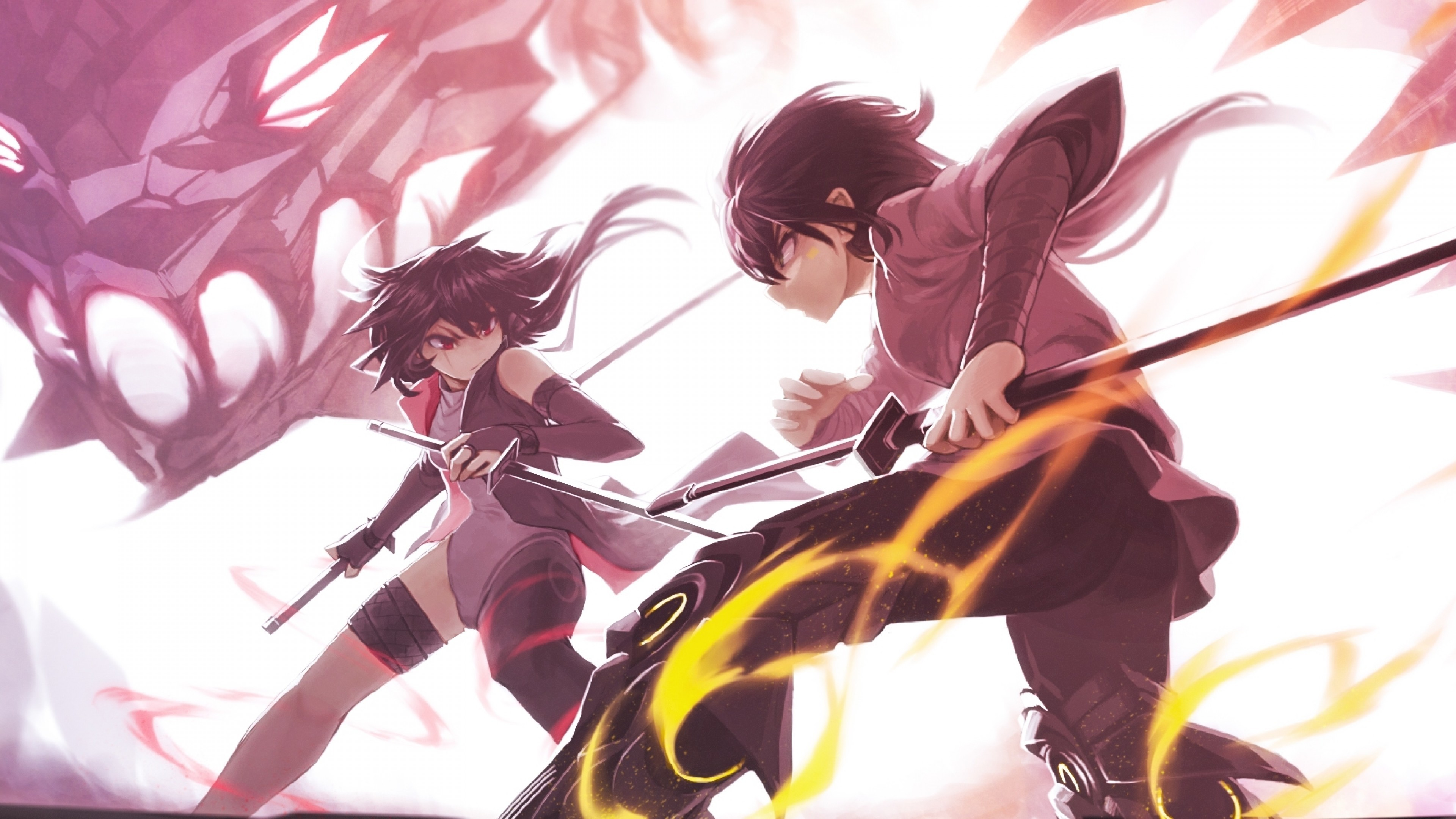 Res: 3840x2160, Anime Battle, Katana, Fighting, Dragon, Fire