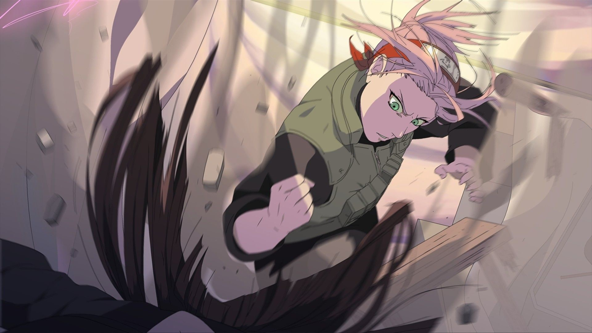 Res: 1920x1080, #pink hair, #green eyes, #Naruto Shippuuden, #anime, #Haruno Sakura, # fighting | Wallpaper No. 7812